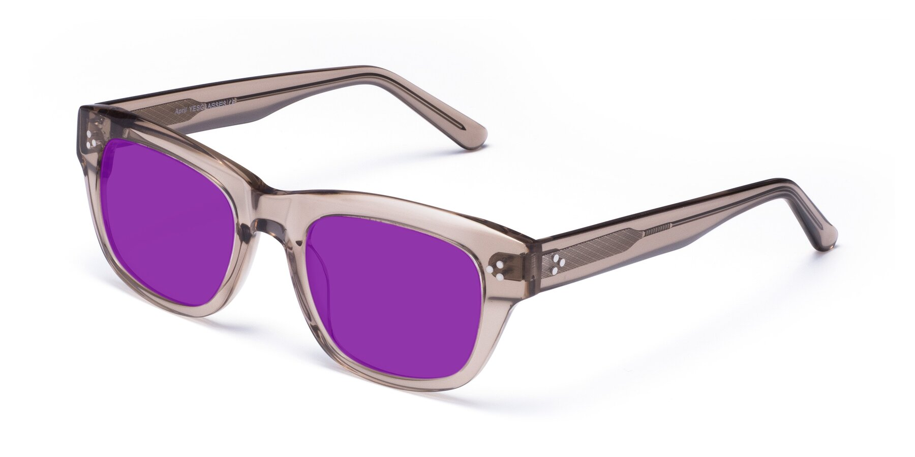 Angle of April in Amber with Purple Tinted Lenses