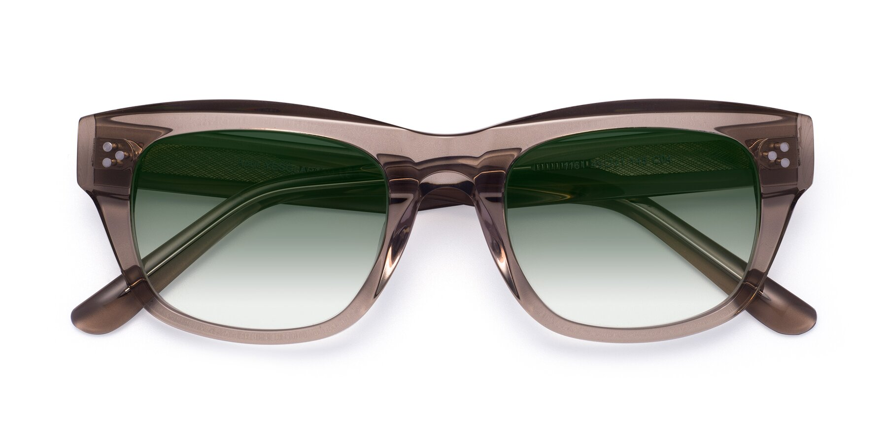 Folded Front of April in Amber with Green Gradient Lenses