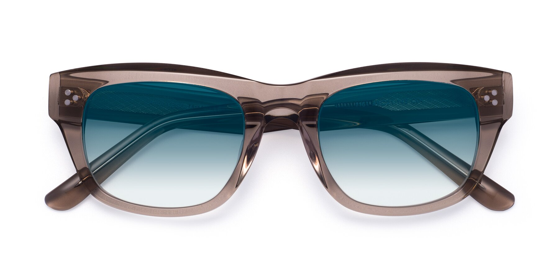 Folded Front of April in Amber with Blue Gradient Lenses