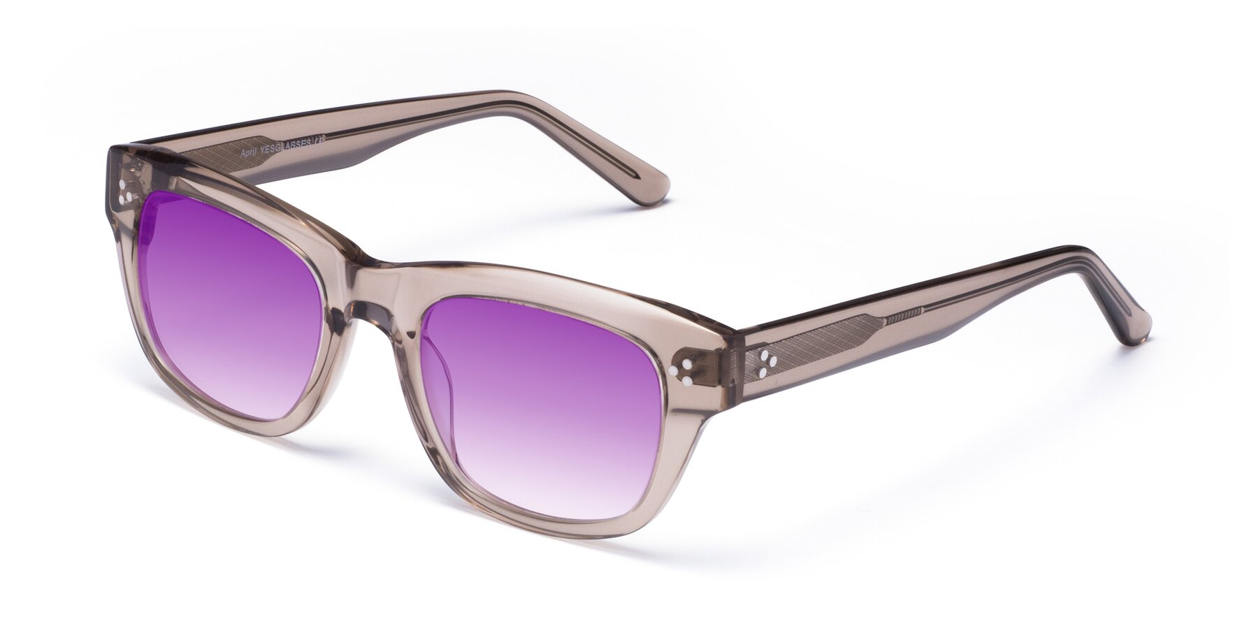 Angle of April in Amber with Purple Gradient Lenses