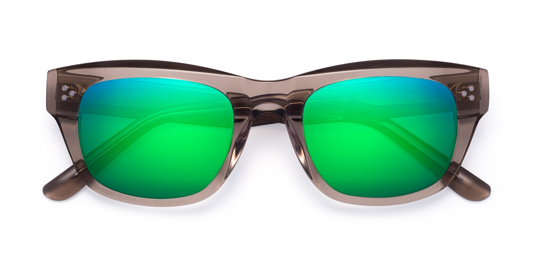 Folded Front of April in Amber with Green Mirrored Lenses