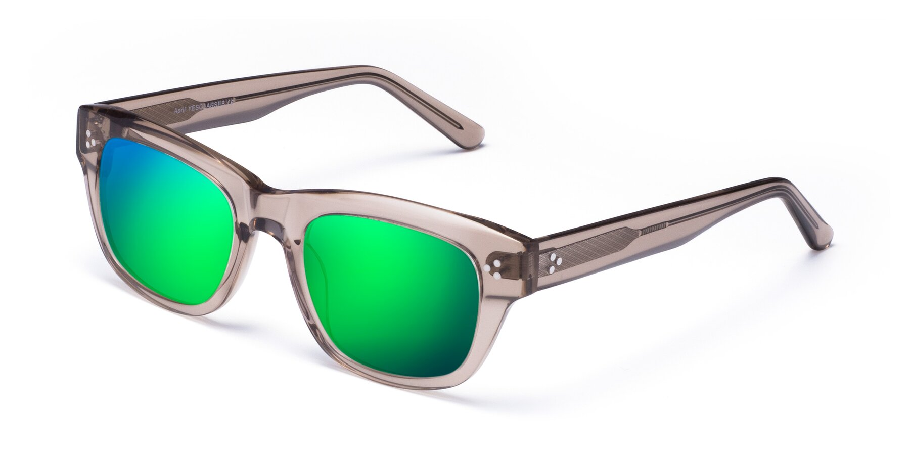 Angle of April in Amber with Green Mirrored Lenses
