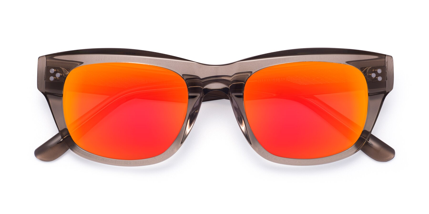Folded Front of April in Amber with Red Gold Mirrored Lenses