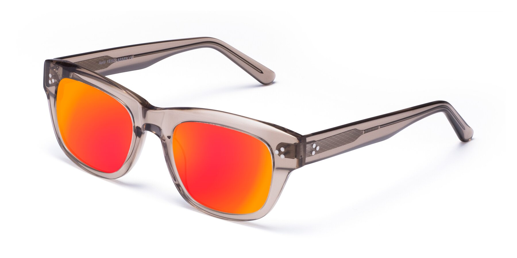 Angle of April in Amber with Red Gold Mirrored Lenses