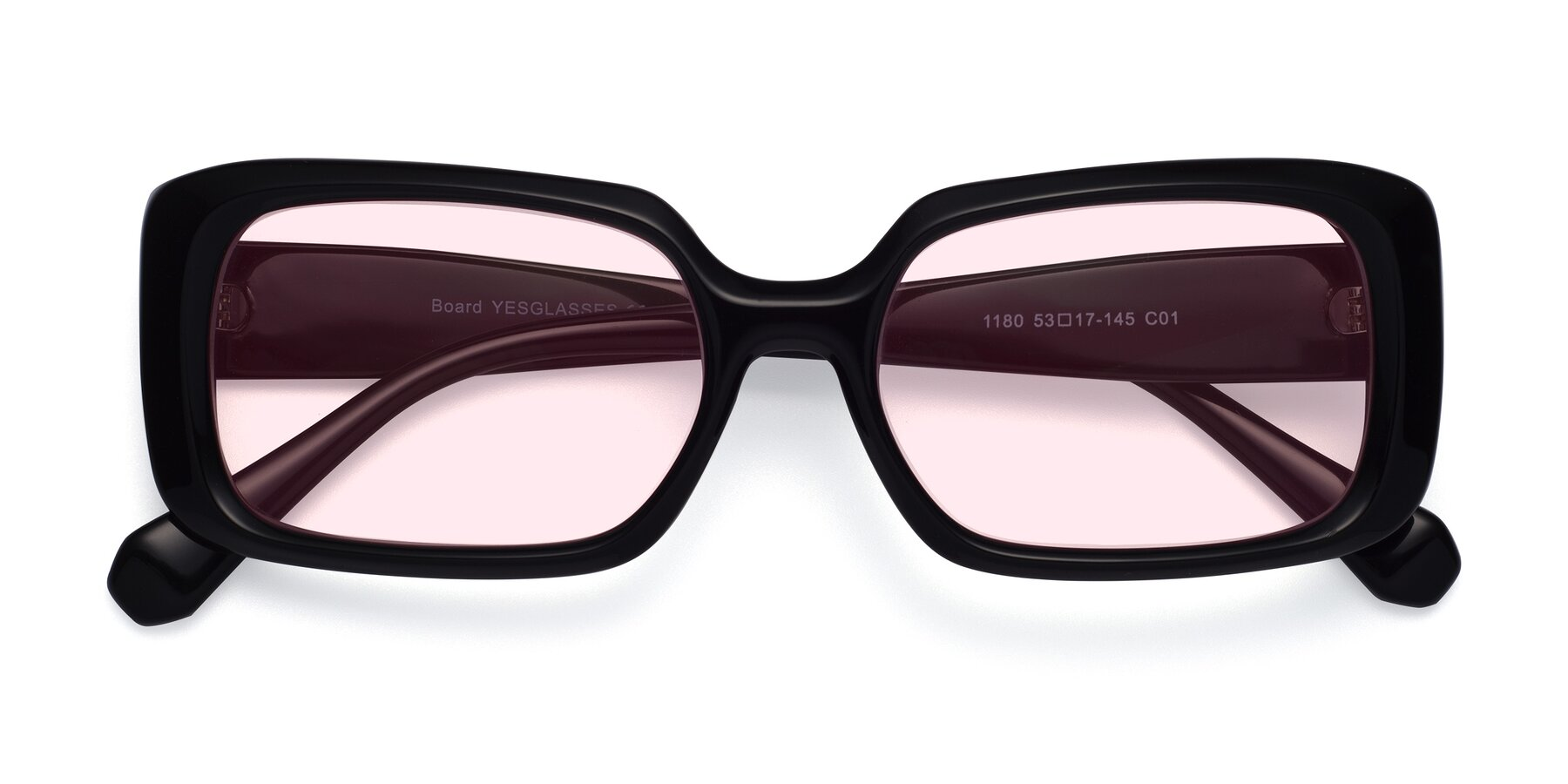 Folded Front of Board in Black with Light Pink Tinted Lenses