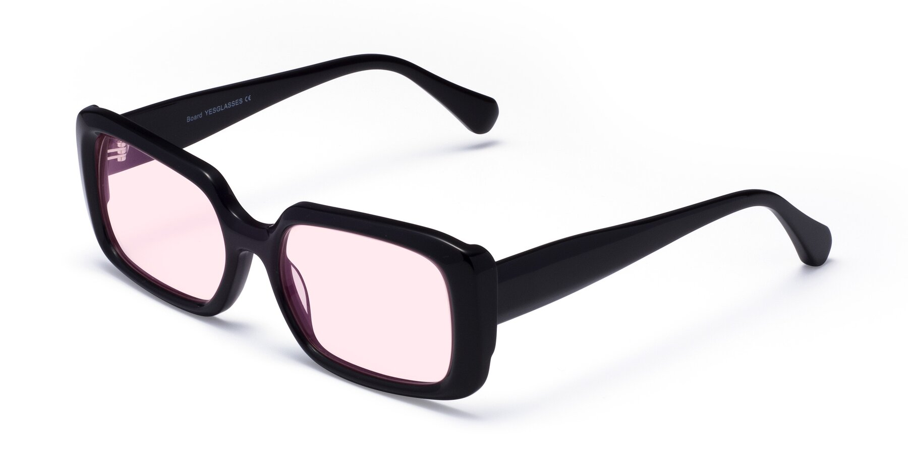 Angle of Board in Black with Light Pink Tinted Lenses