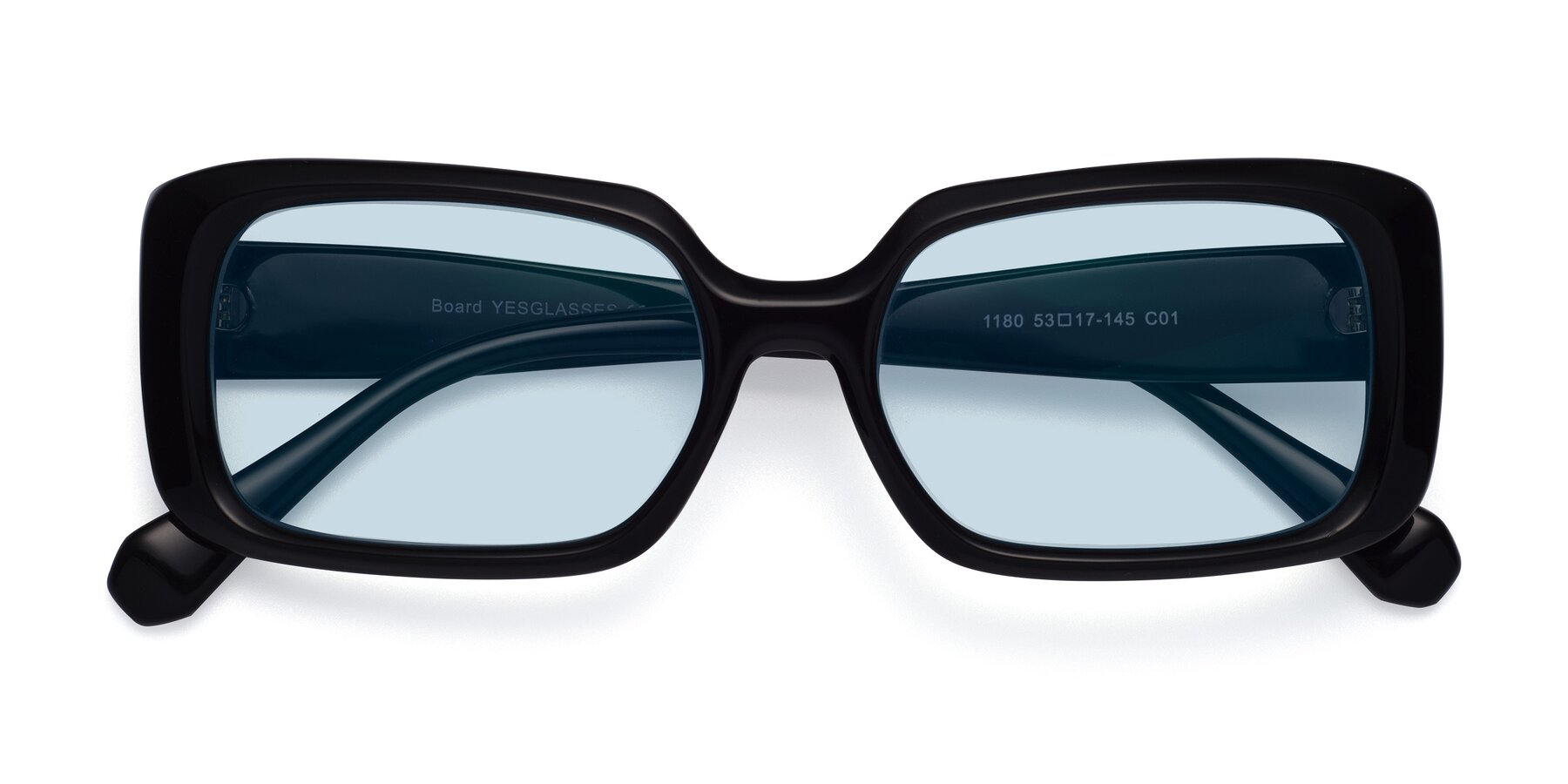 Folded Front of Board in Black with Light Blue Tinted Lenses