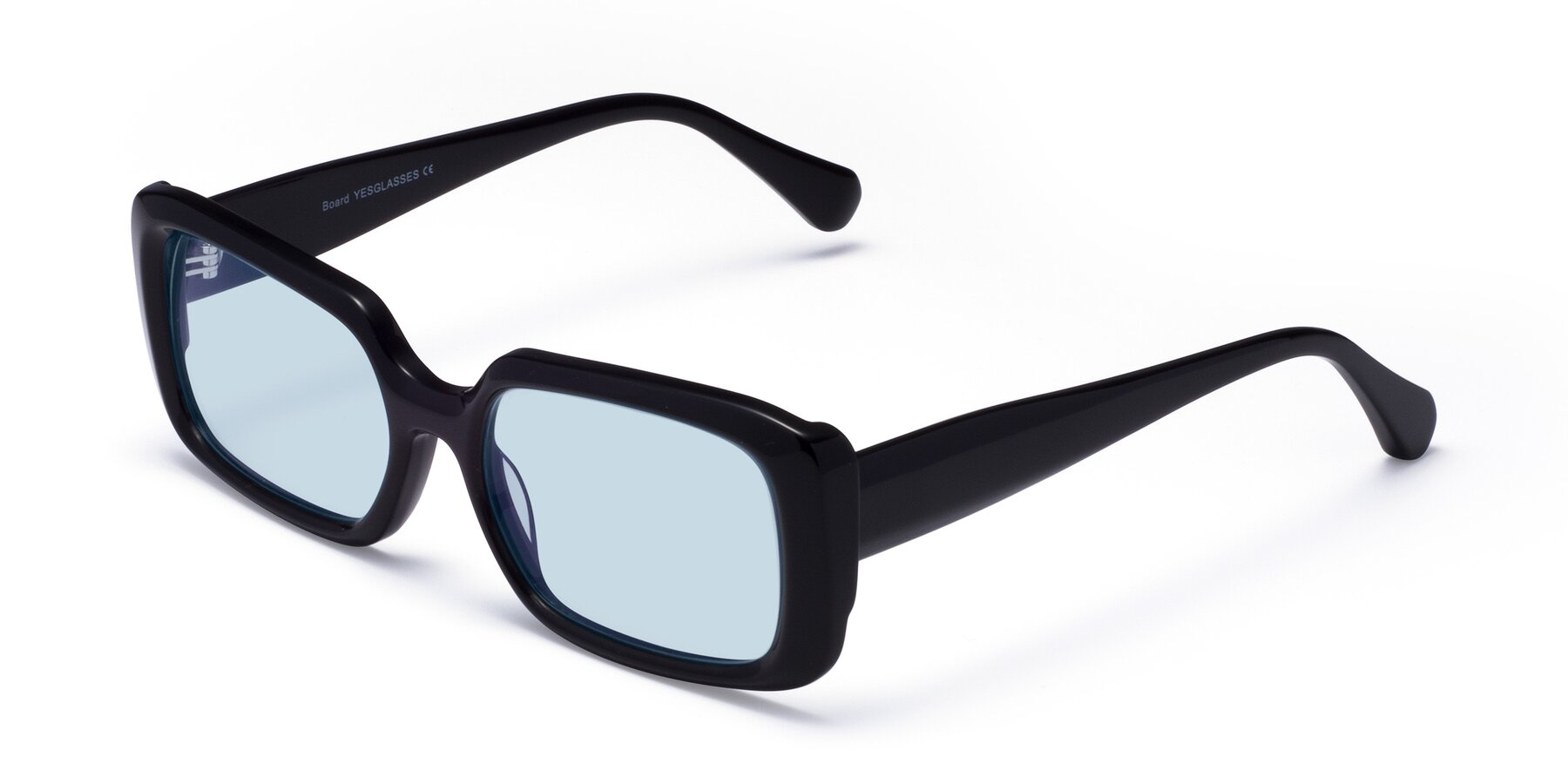 Angle of Board in Black with Light Blue Tinted Lenses