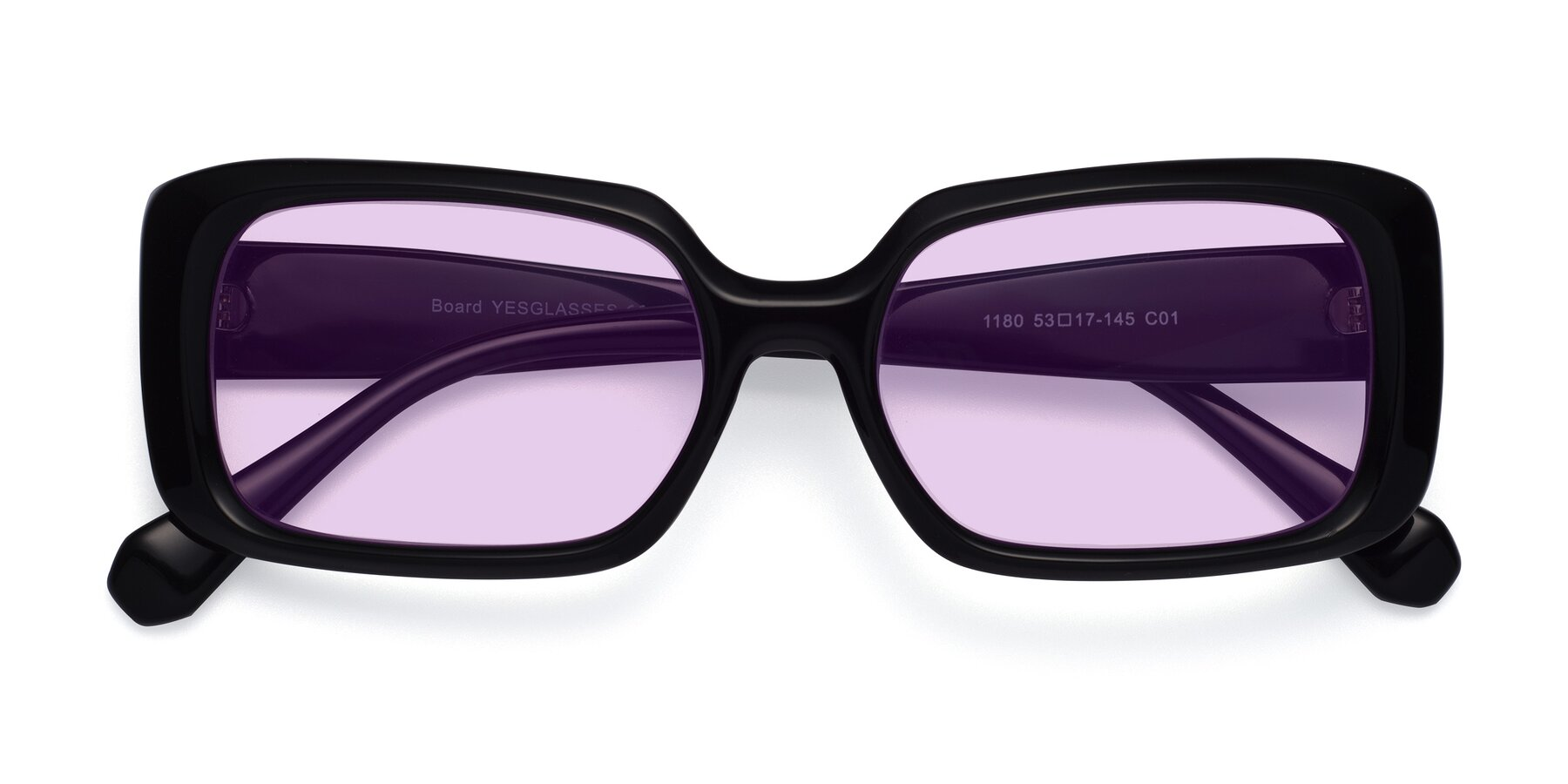 Folded Front of Board in Black with Light Purple Tinted Lenses