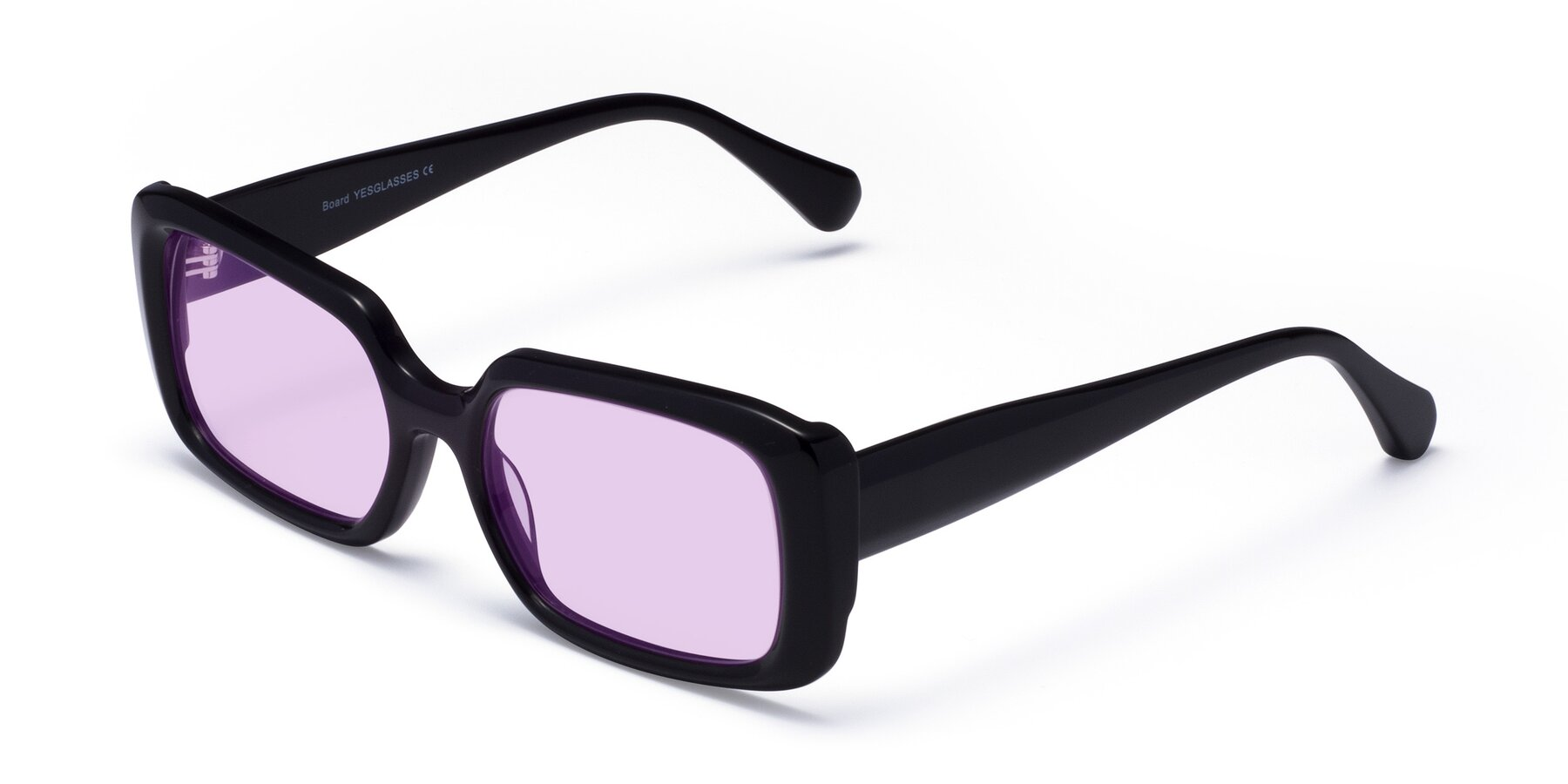 Angle of Board in Black with Light Purple Tinted Lenses