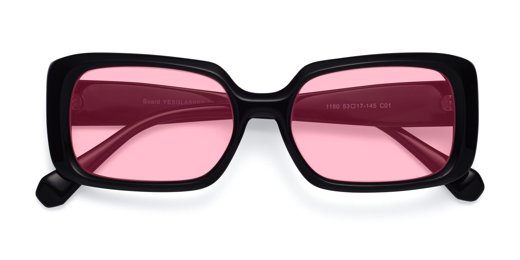 Folded Front of Board in Black with Medium Pink Tinted Lenses
