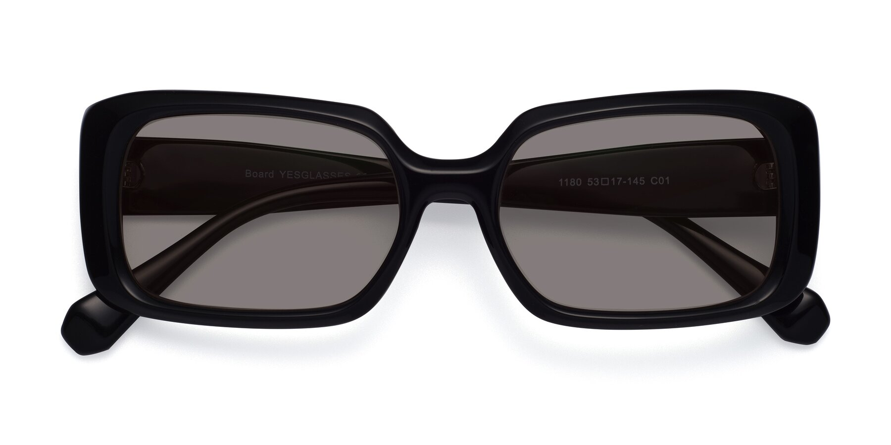 Folded Front of Board in Black with Medium Gray Tinted Lenses
