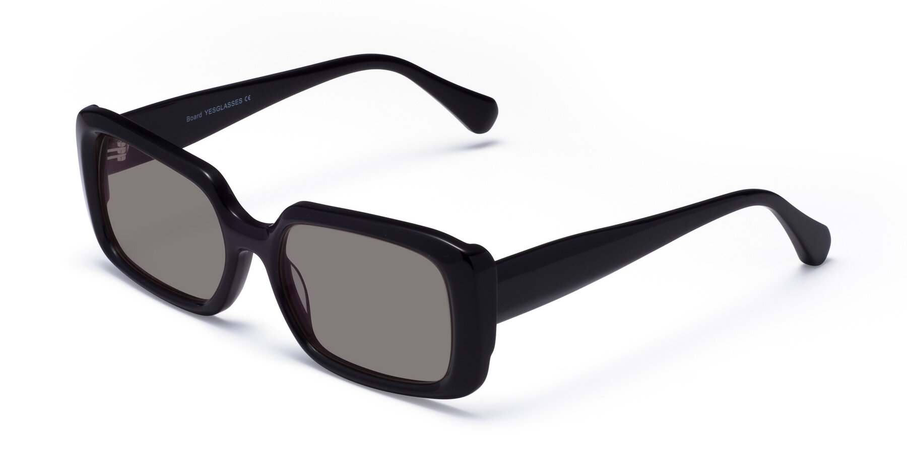 Angle of Board in Black with Medium Gray Tinted Lenses