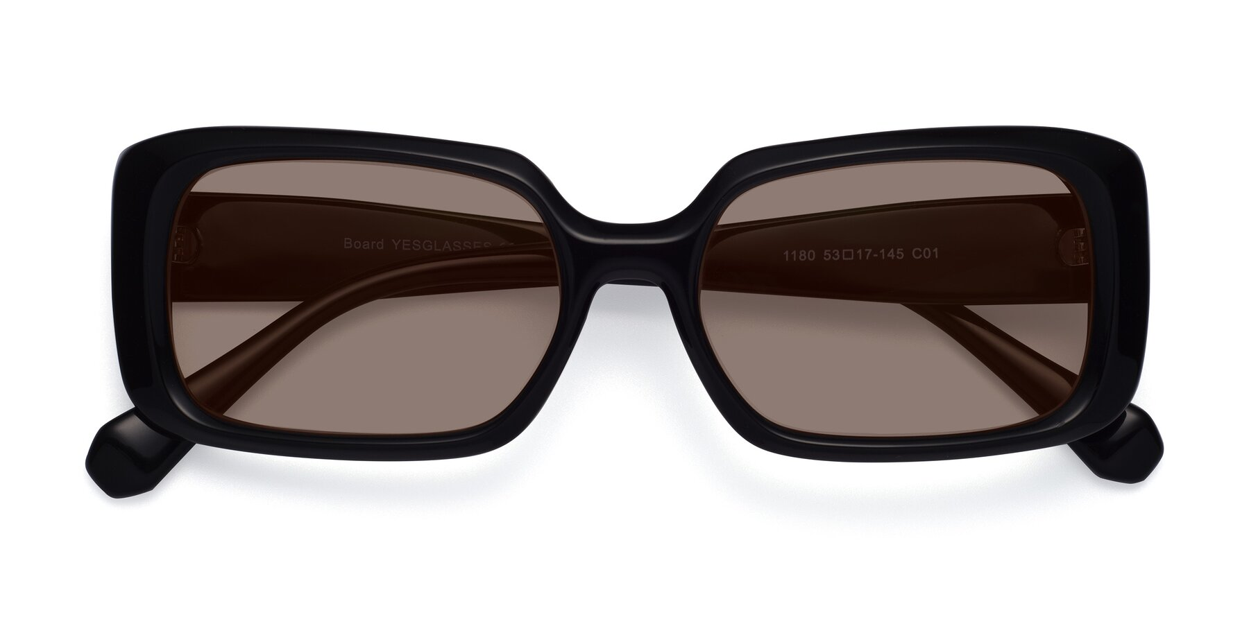 Folded Front of Board in Black with Medium Brown Tinted Lenses