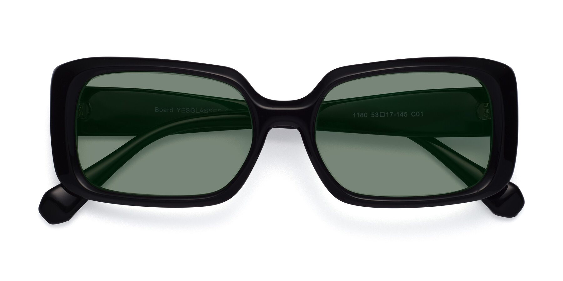 Folded Front of Board in Black with Medium Green Tinted Lenses