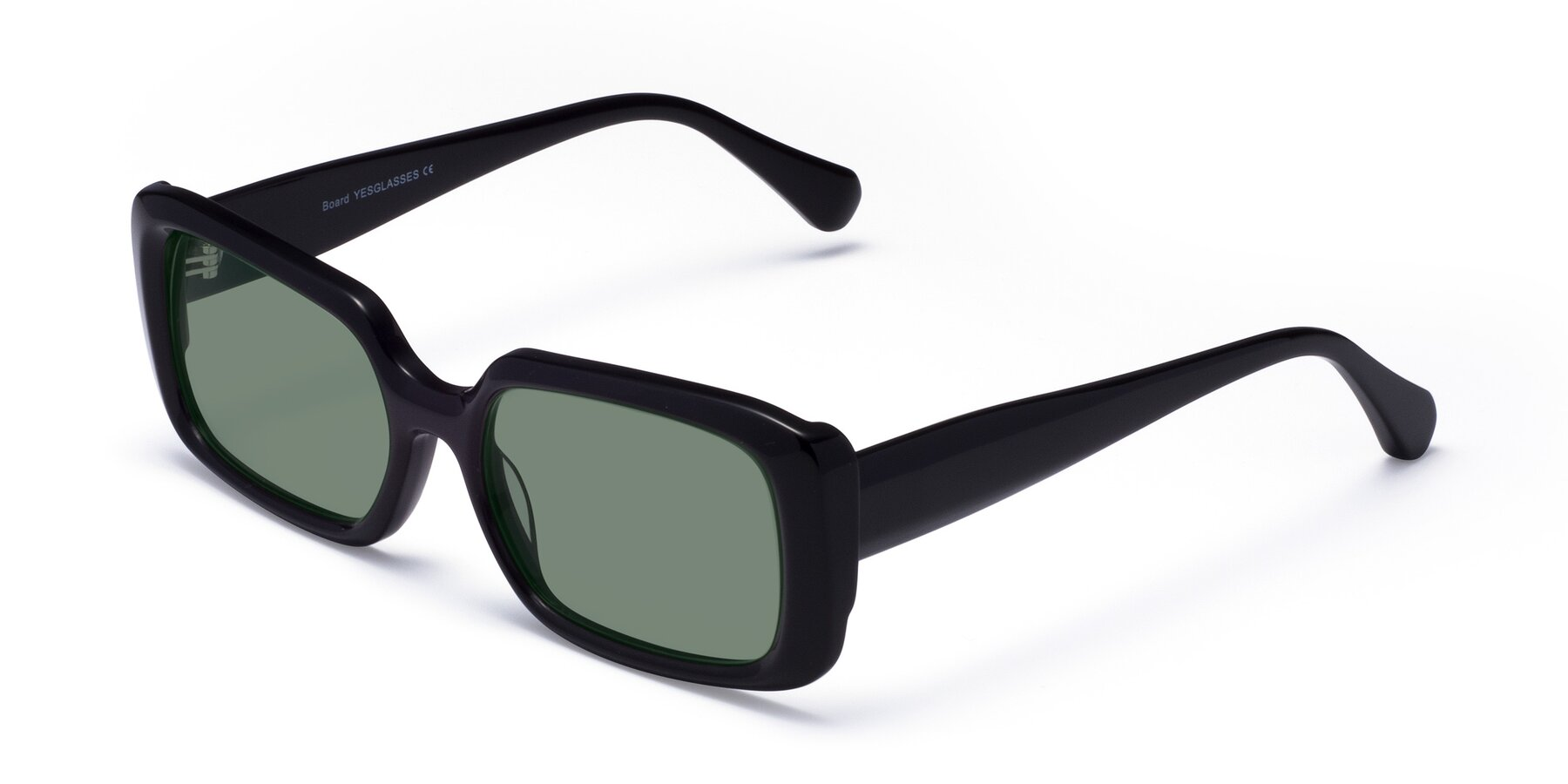 Angle of Board in Black with Medium Green Tinted Lenses