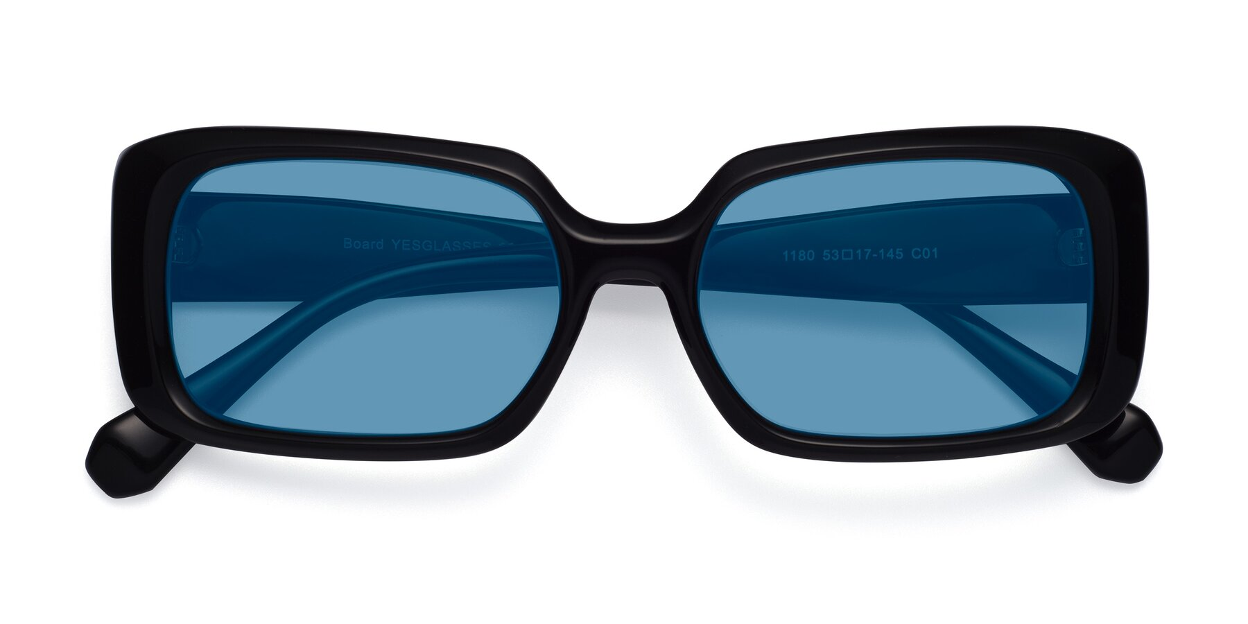 Folded Front of Board in Black with Medium Blue Tinted Lenses