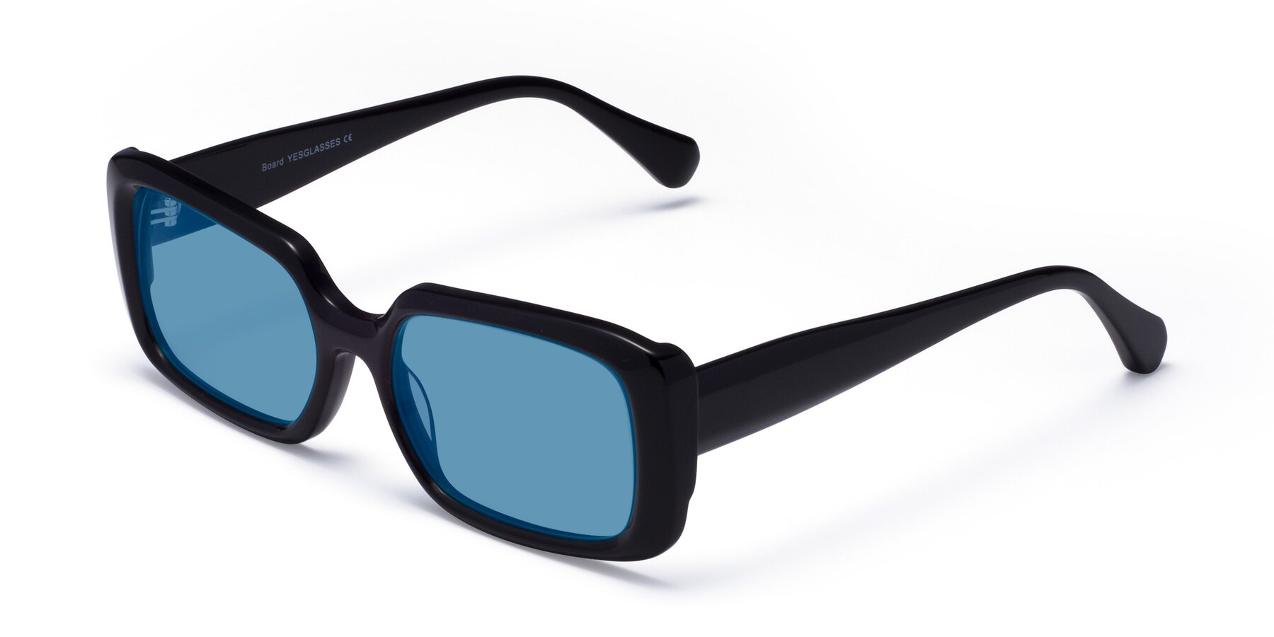 Angle of Board in Black with Medium Blue Tinted Lenses