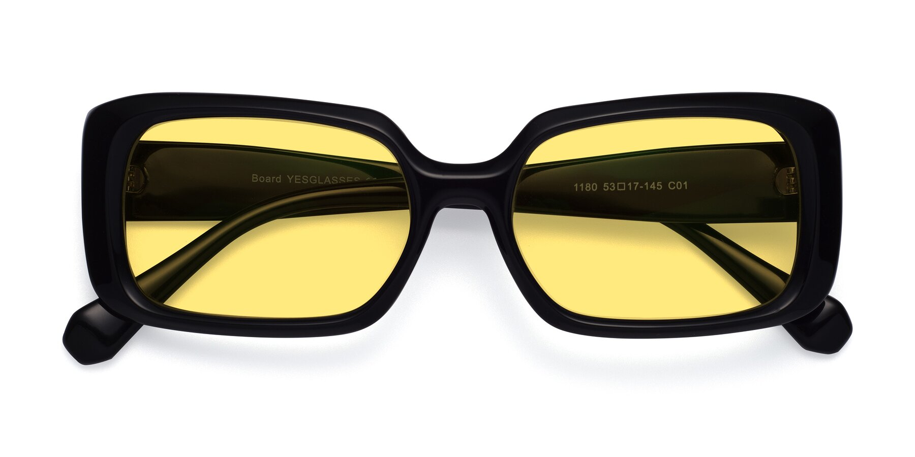 Folded Front of Board in Black with Medium Yellow Tinted Lenses