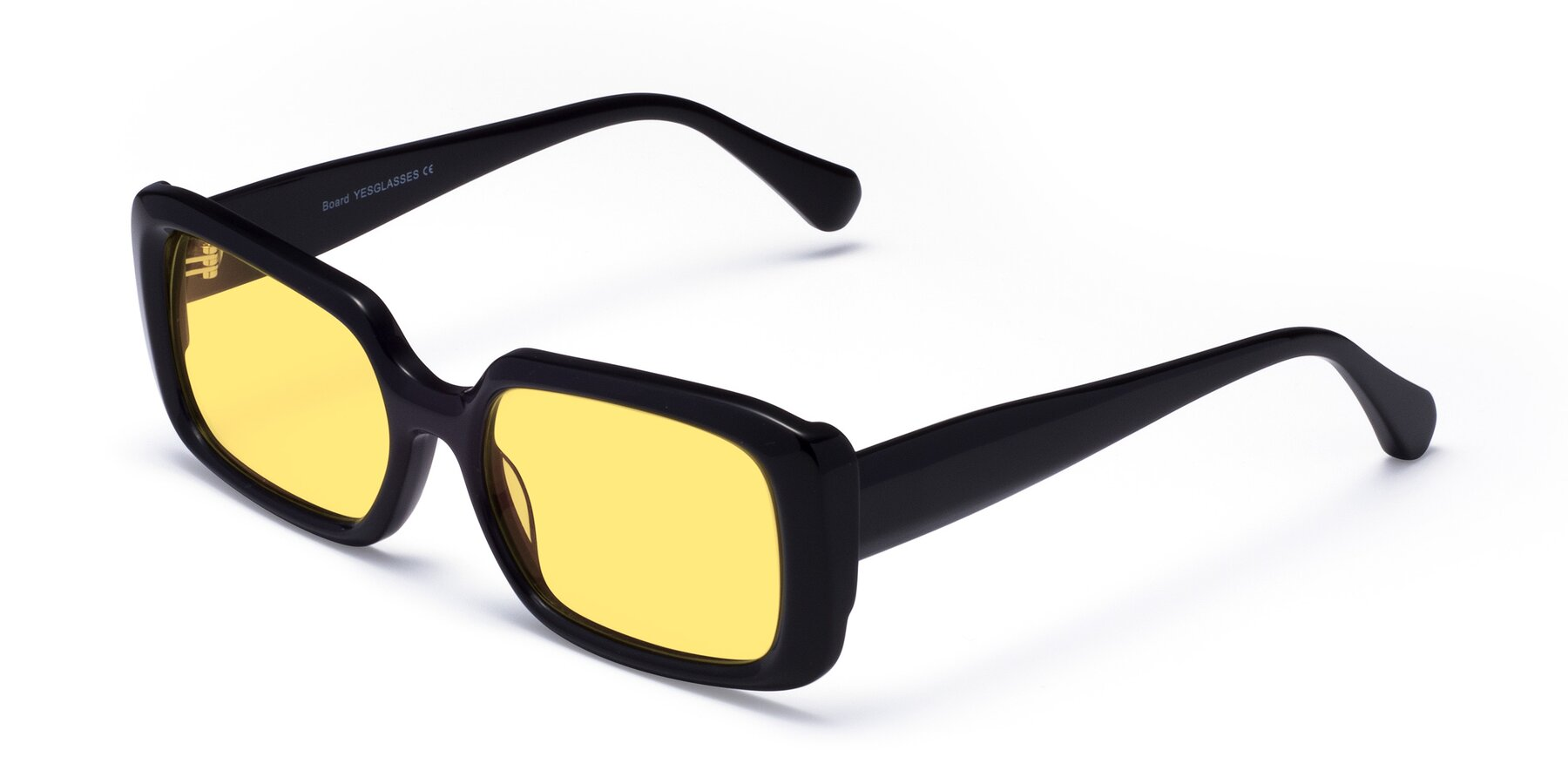 Angle of Board in Black with Medium Yellow Tinted Lenses