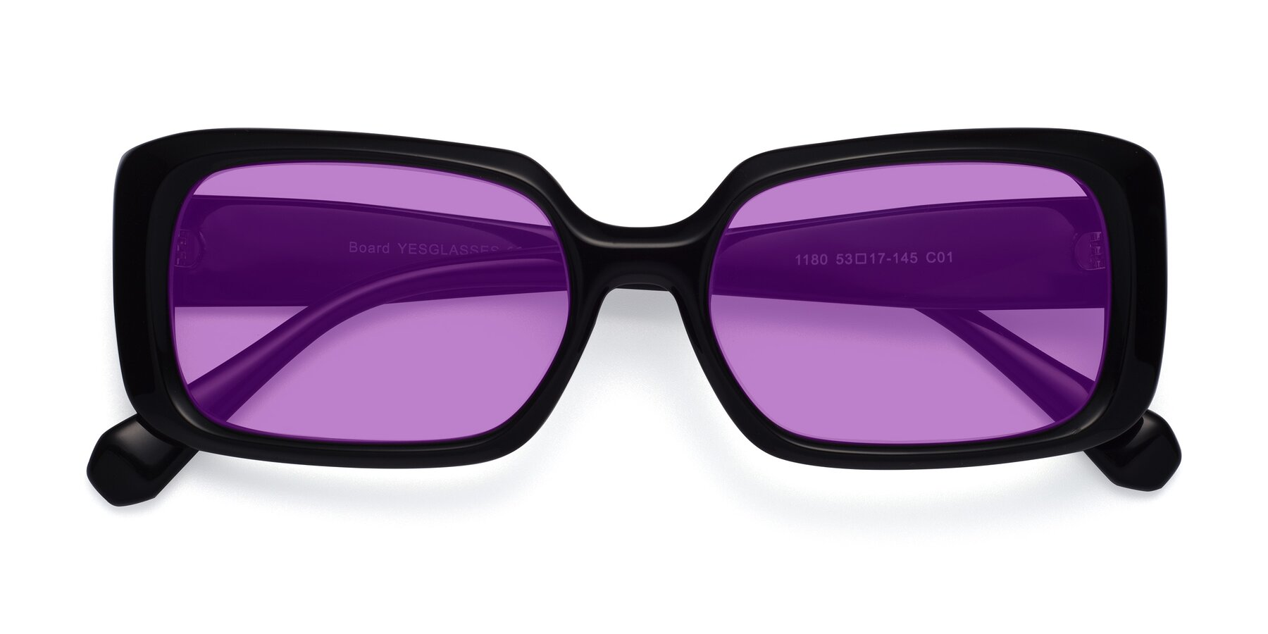 Folded Front of Board in Black with Medium Purple Tinted Lenses
