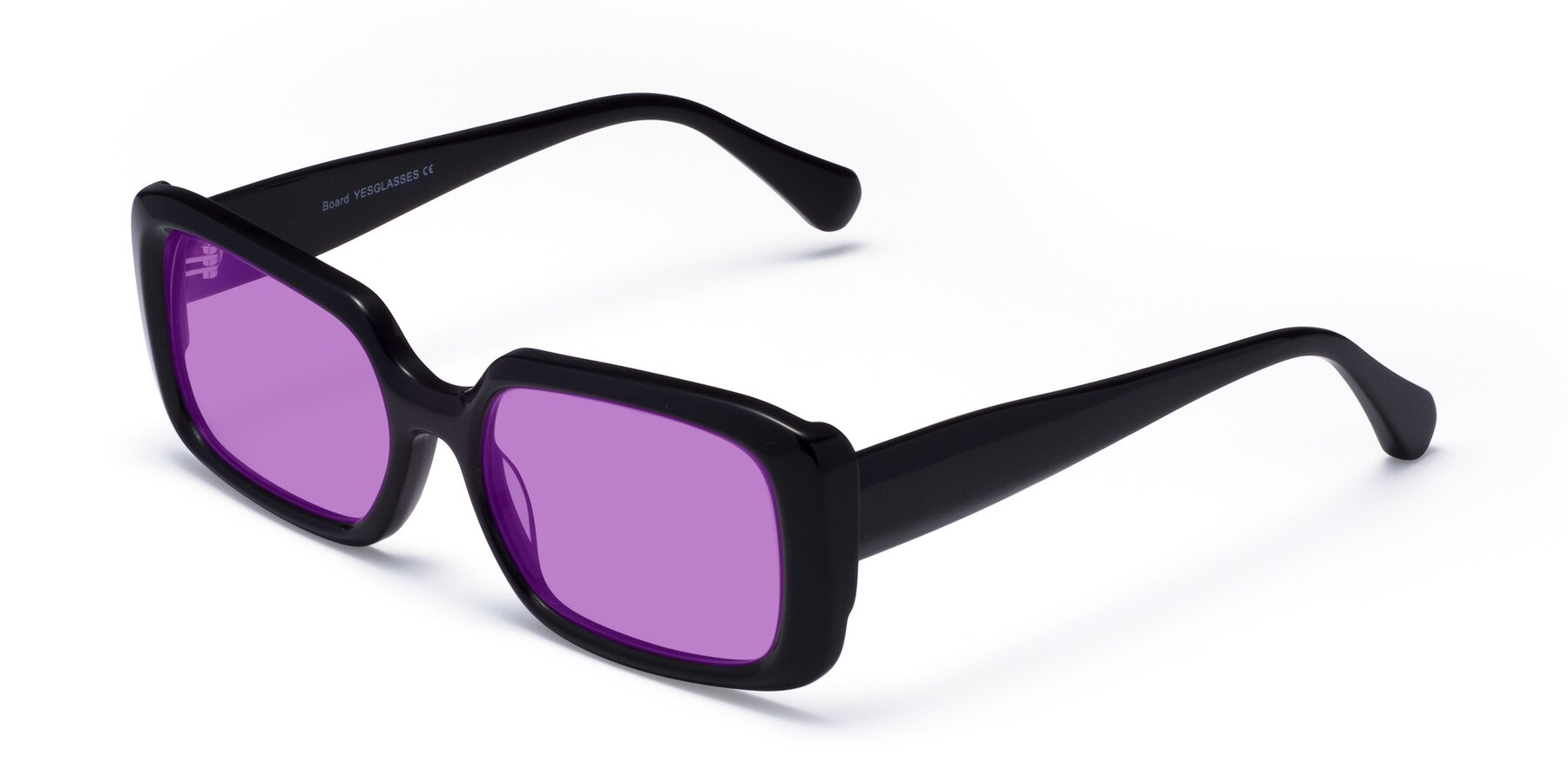 Angle of Board in Black with Medium Purple Tinted Lenses