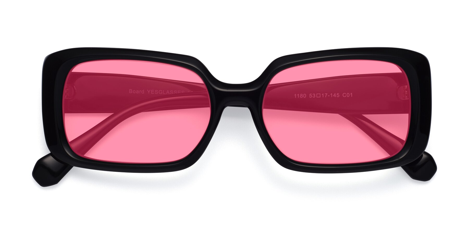 Folded Front of Board in Black with Pink Tinted Lenses