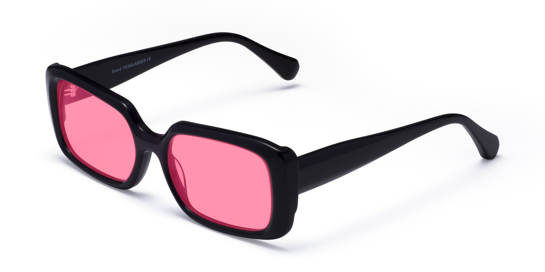 Angle of Board in Black with Pink Tinted Lenses