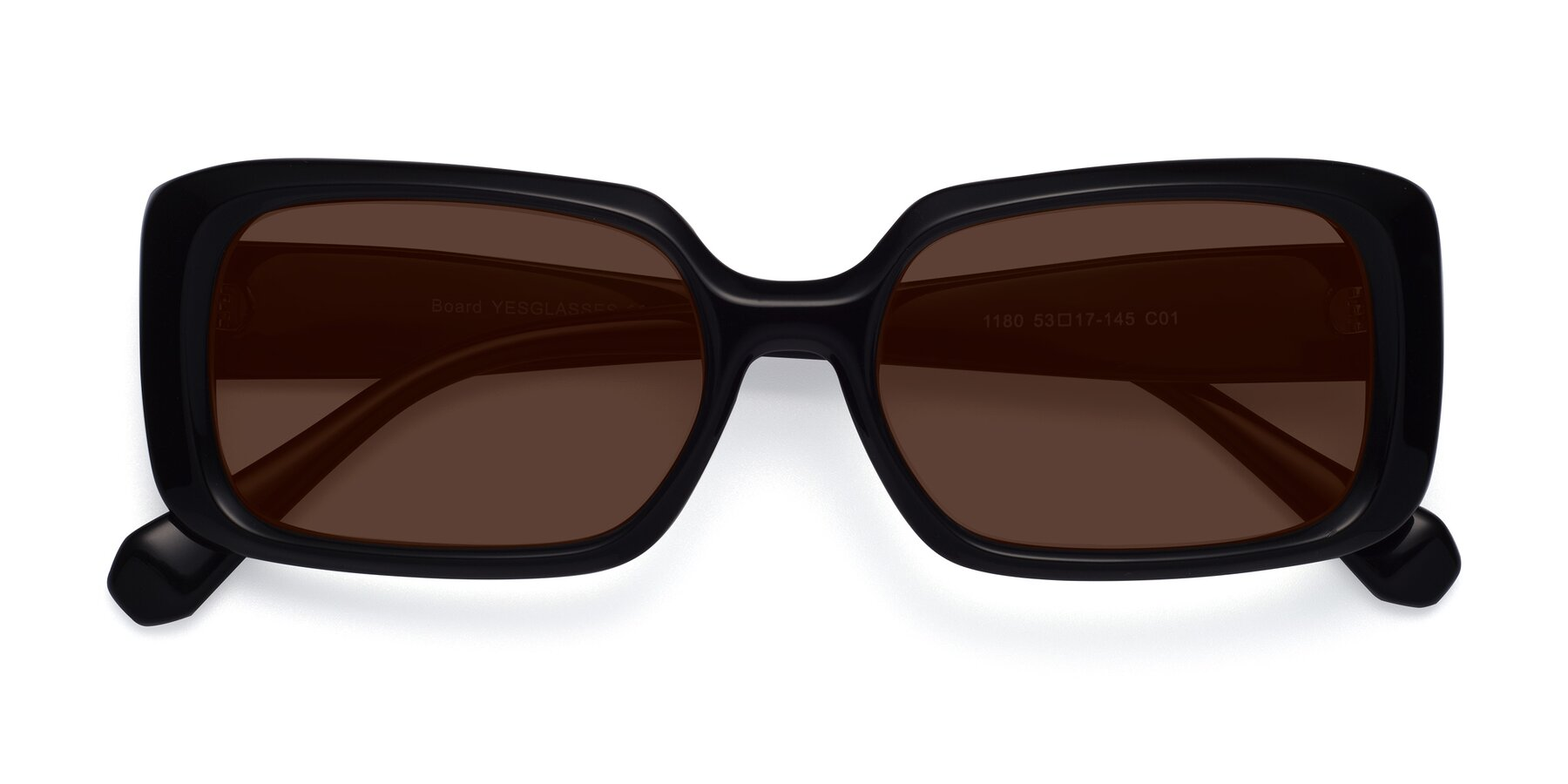 Folded Front of Board in Black with Brown Tinted Lenses
