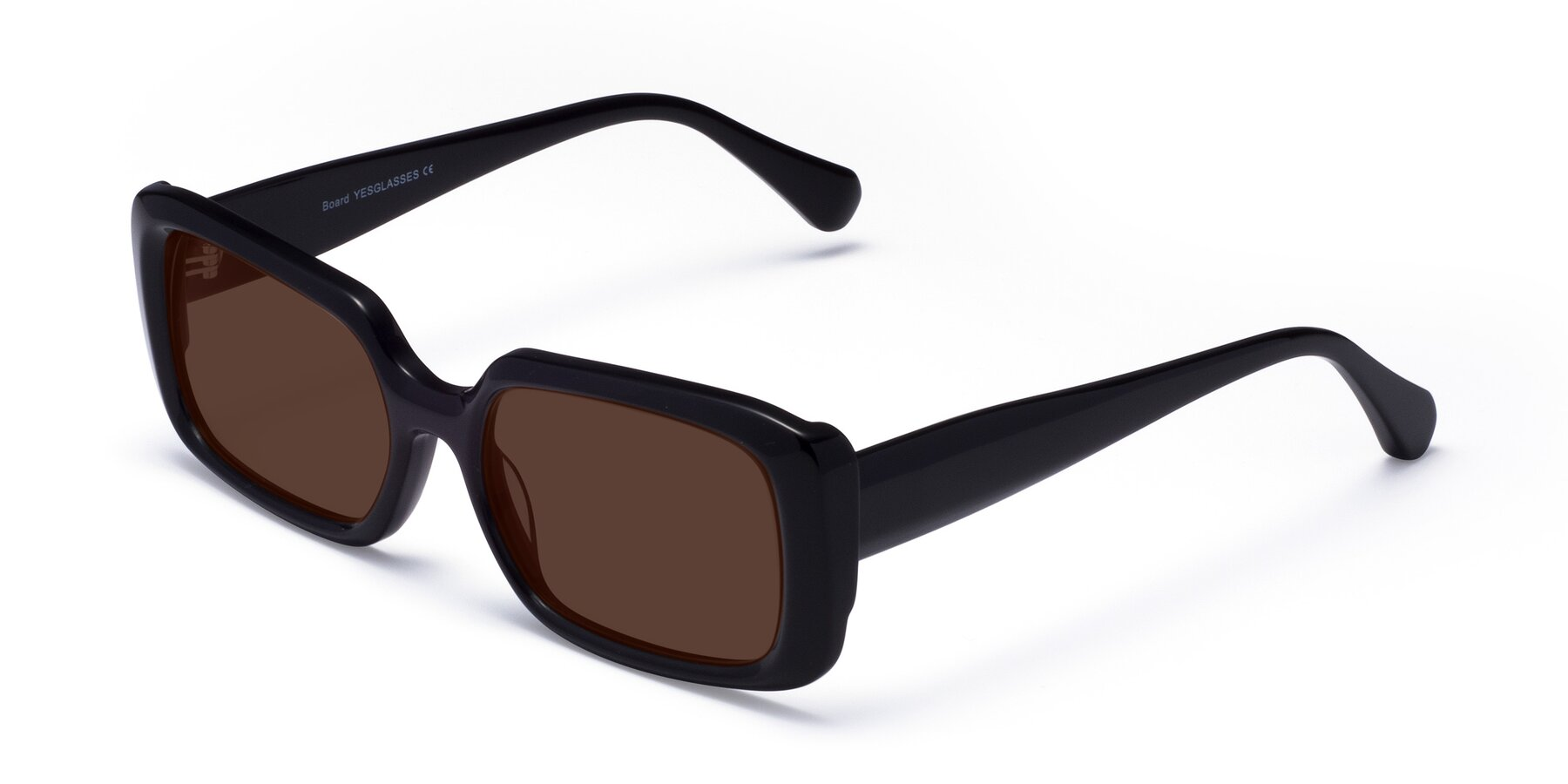 Angle of Board in Black with Brown Tinted Lenses