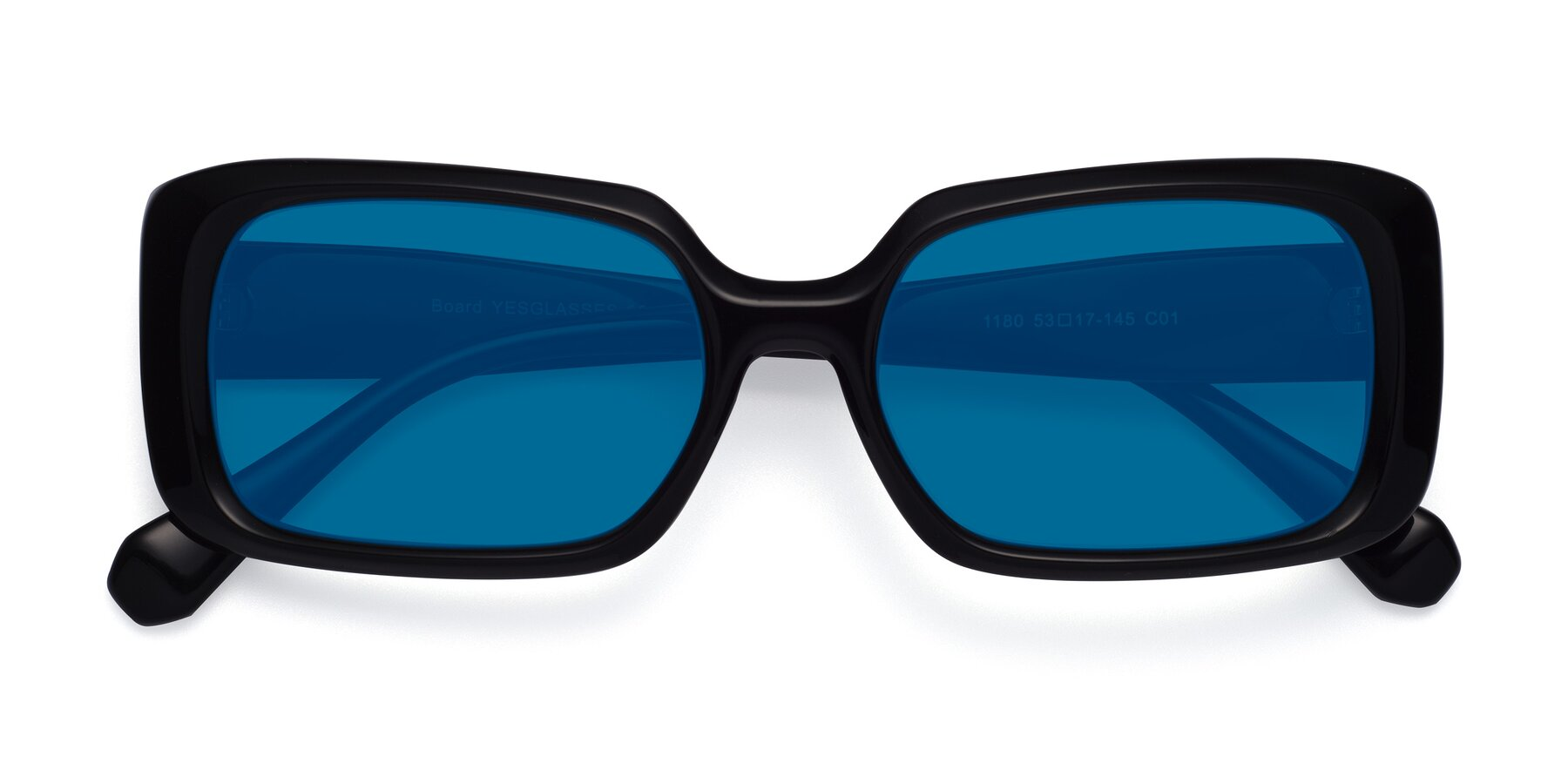 Folded Front of Board in Black with Blue Tinted Lenses