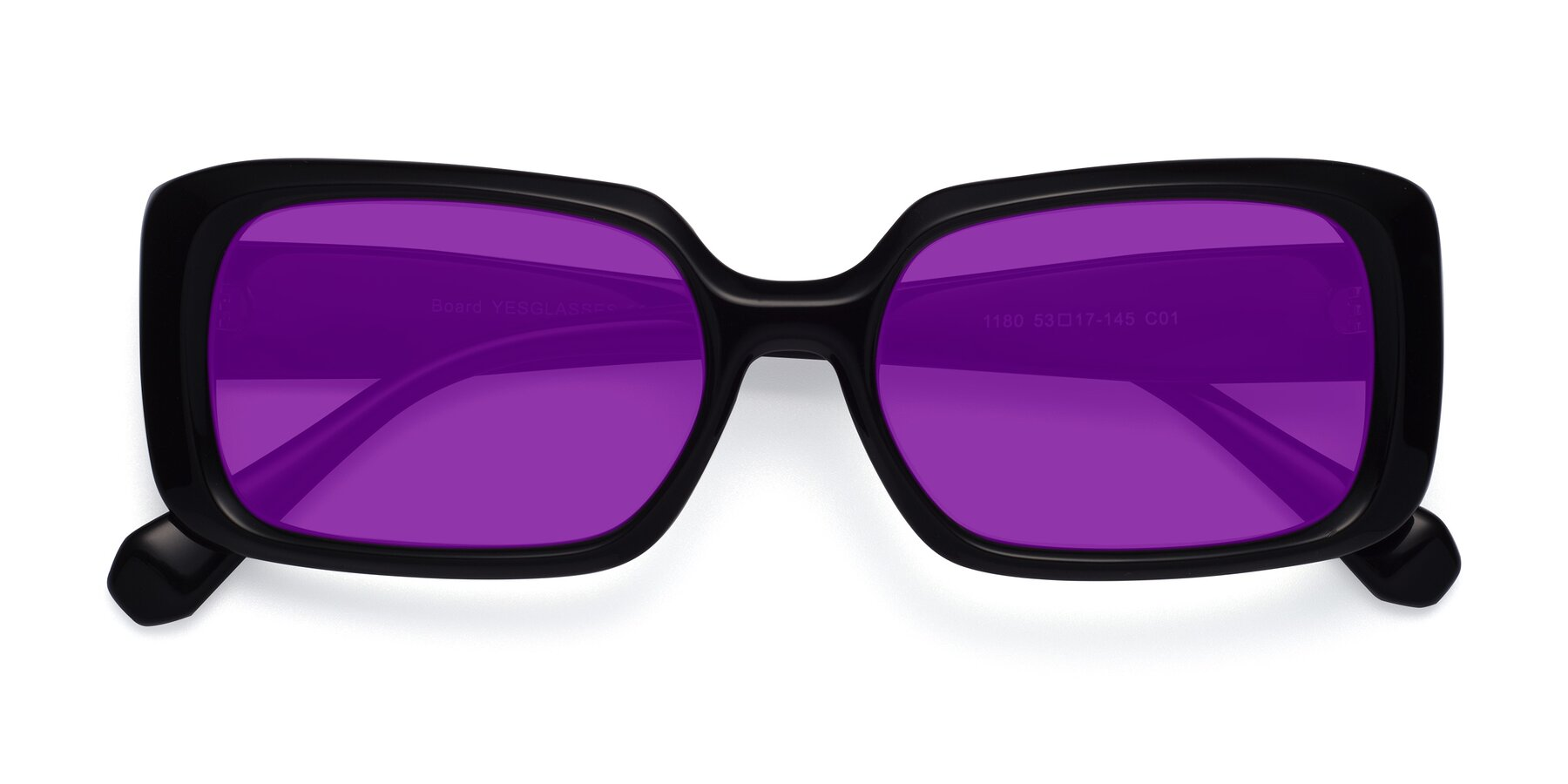 Folded Front of Board in Black with Purple Tinted Lenses