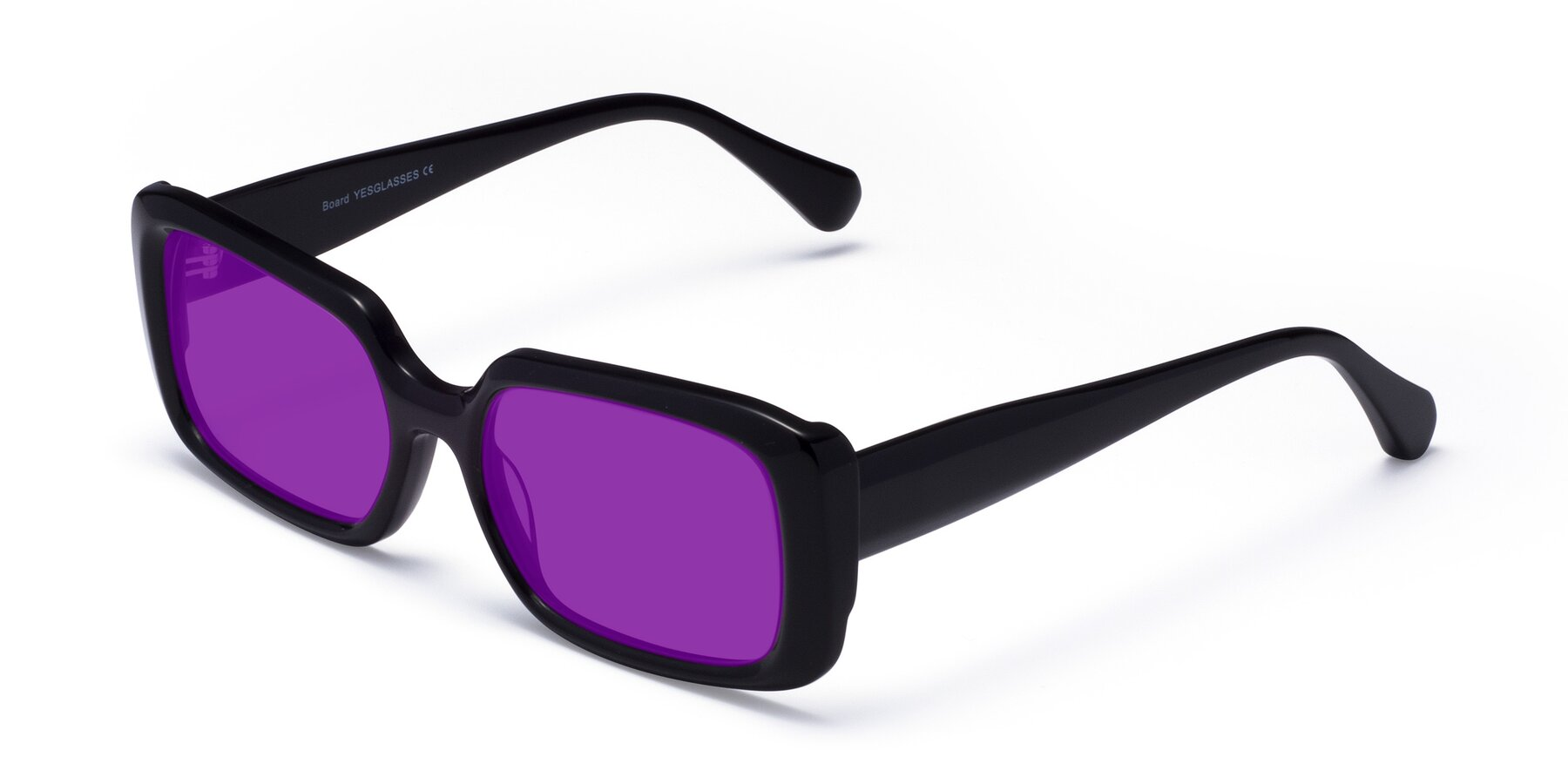 Angle of Board in Black with Purple Tinted Lenses
