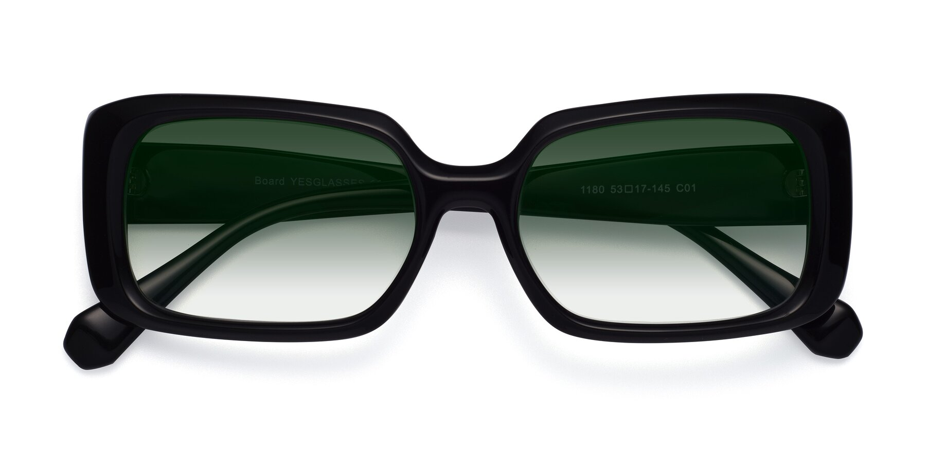 Folded Front of Board in Black with Green Gradient Lenses