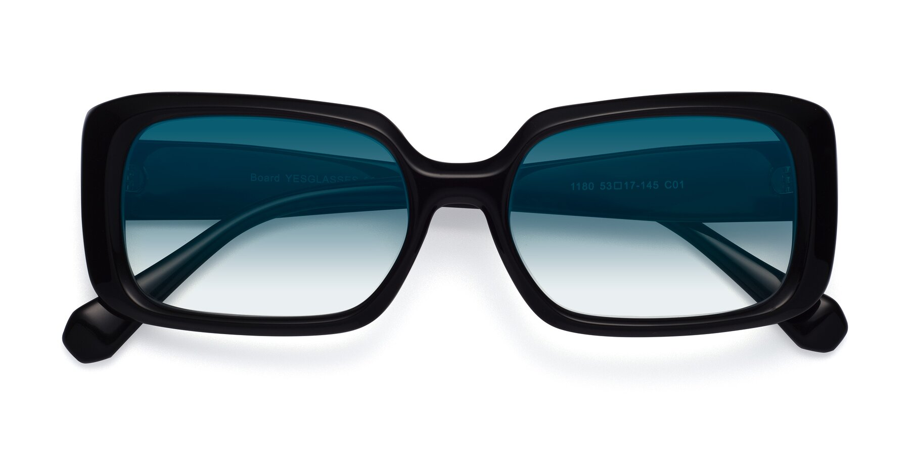 Folded Front of Board in Black with Blue Gradient Lenses