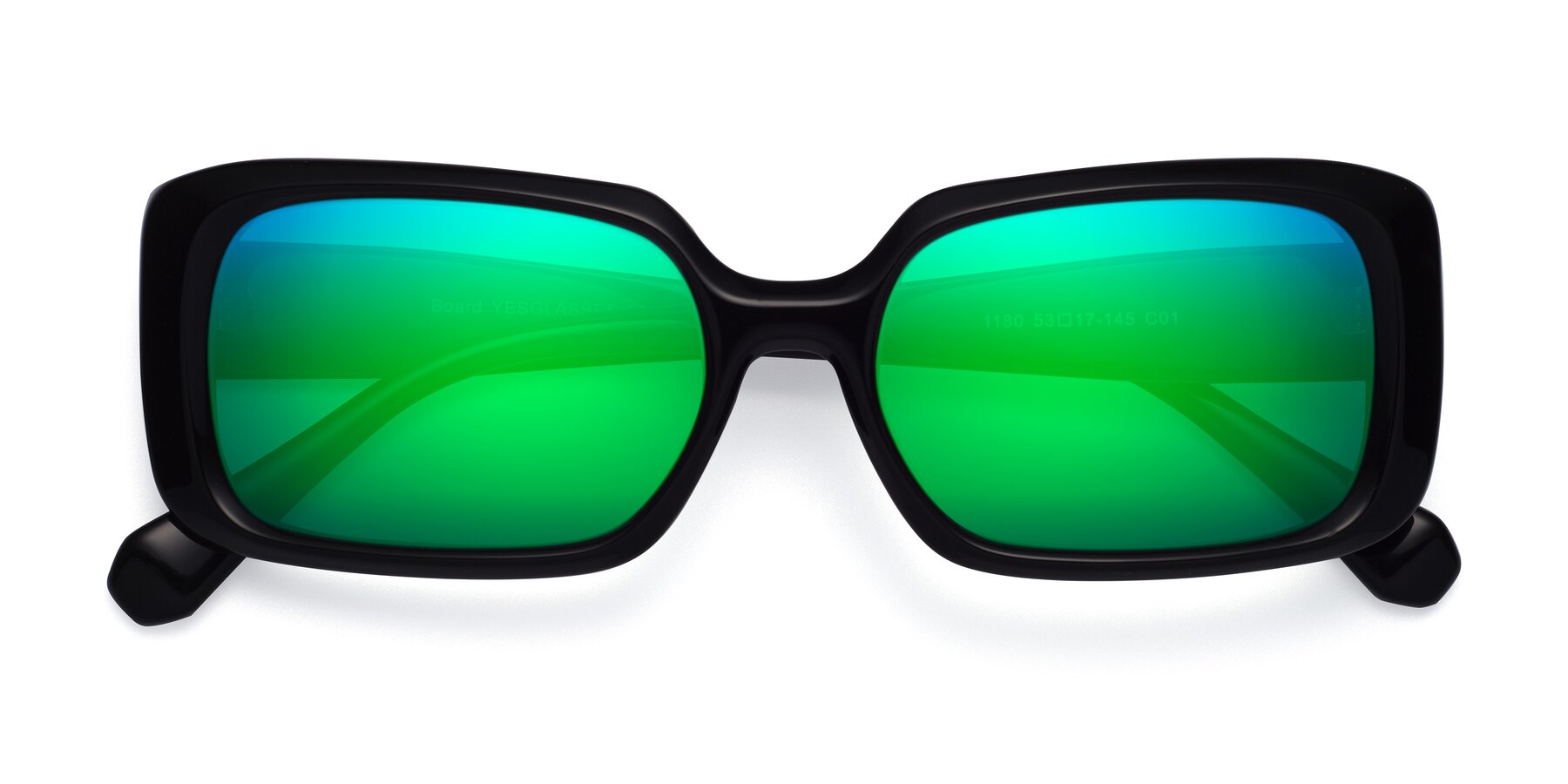 Folded Front of Board in Black with Green Mirrored Lenses