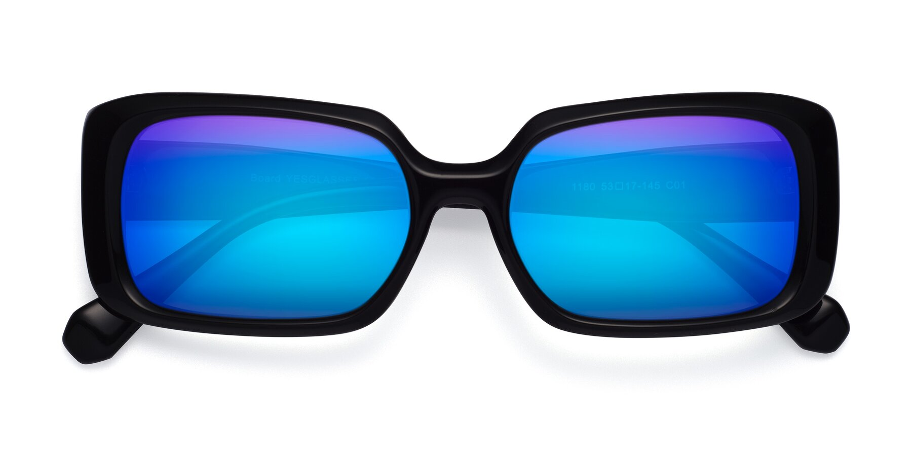 Folded Front of Board in Black with Blue Mirrored Lenses