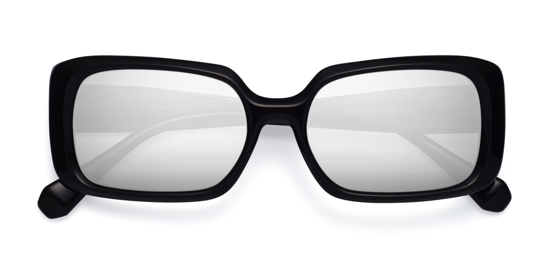 Folded Front of Board in Black with Silver Mirrored Lenses