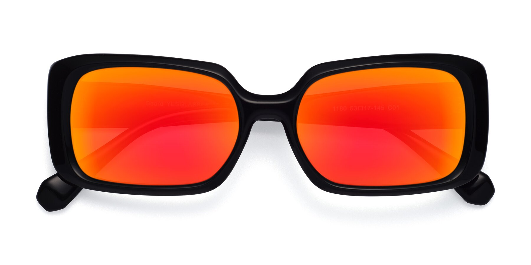 Folded Front of Board in Black with Red Gold Mirrored Lenses