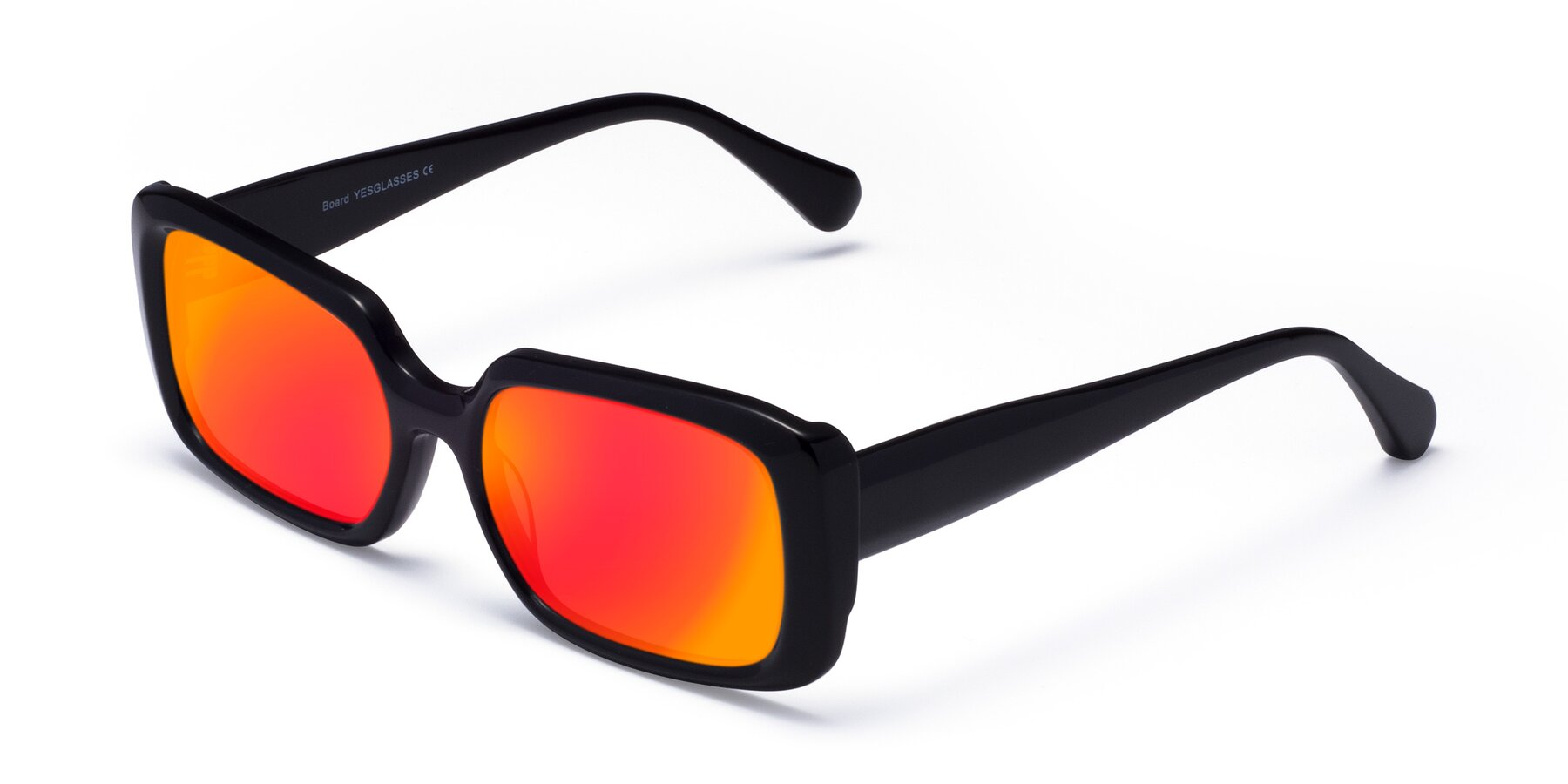 Angle of Board in Black with Red Gold Mirrored Lenses