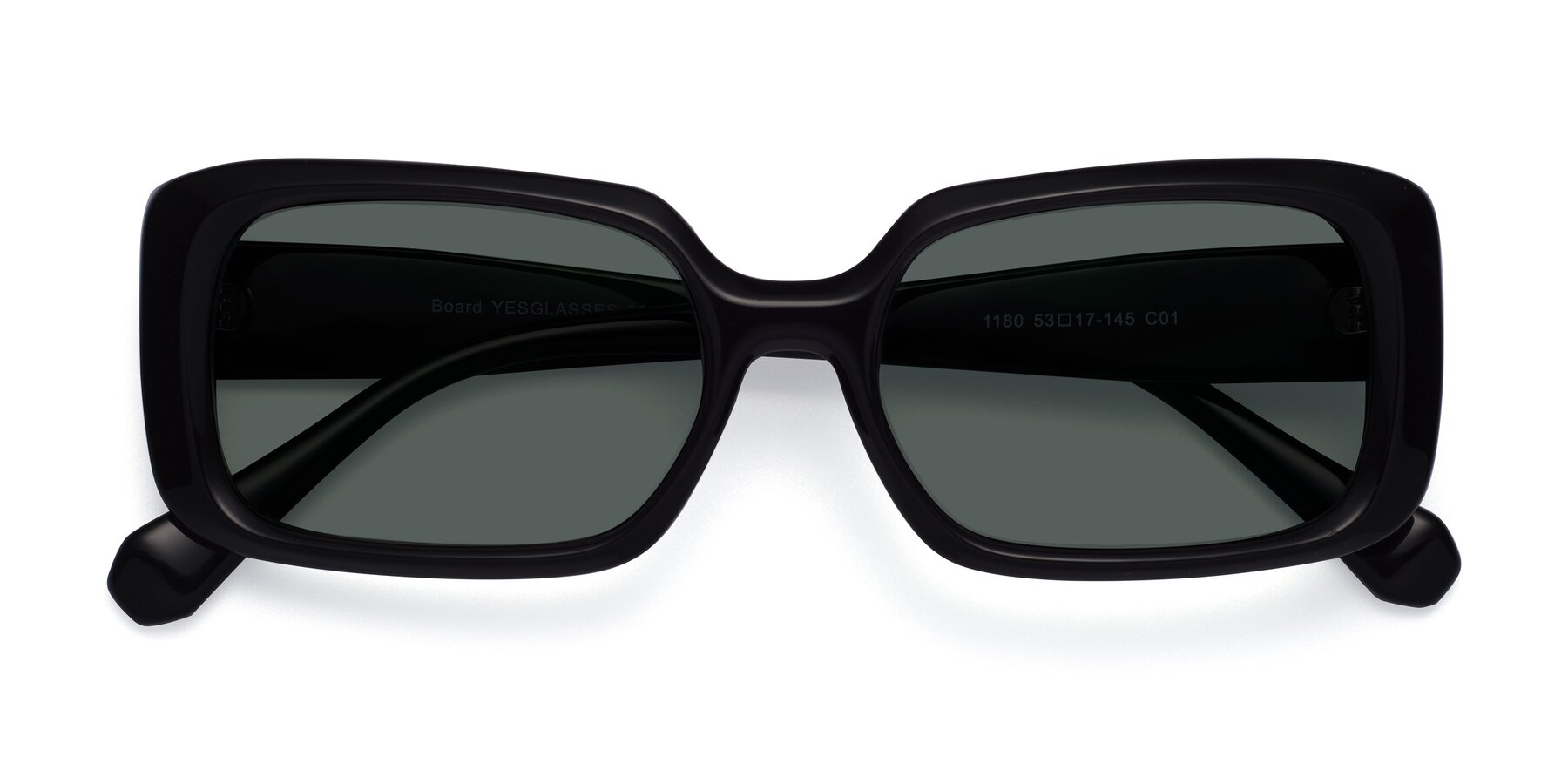 Folded Front of Board in Black with Gray Polarized Lenses