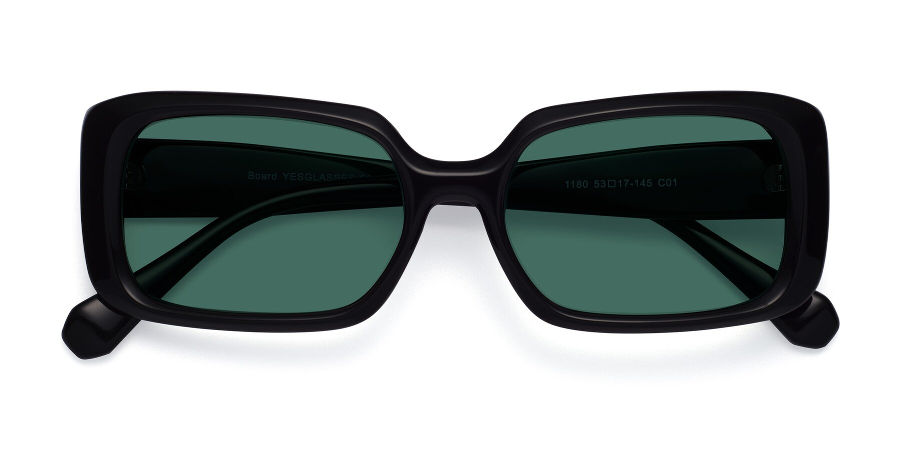 Folded Front of Board in Black with Green Polarized Lenses