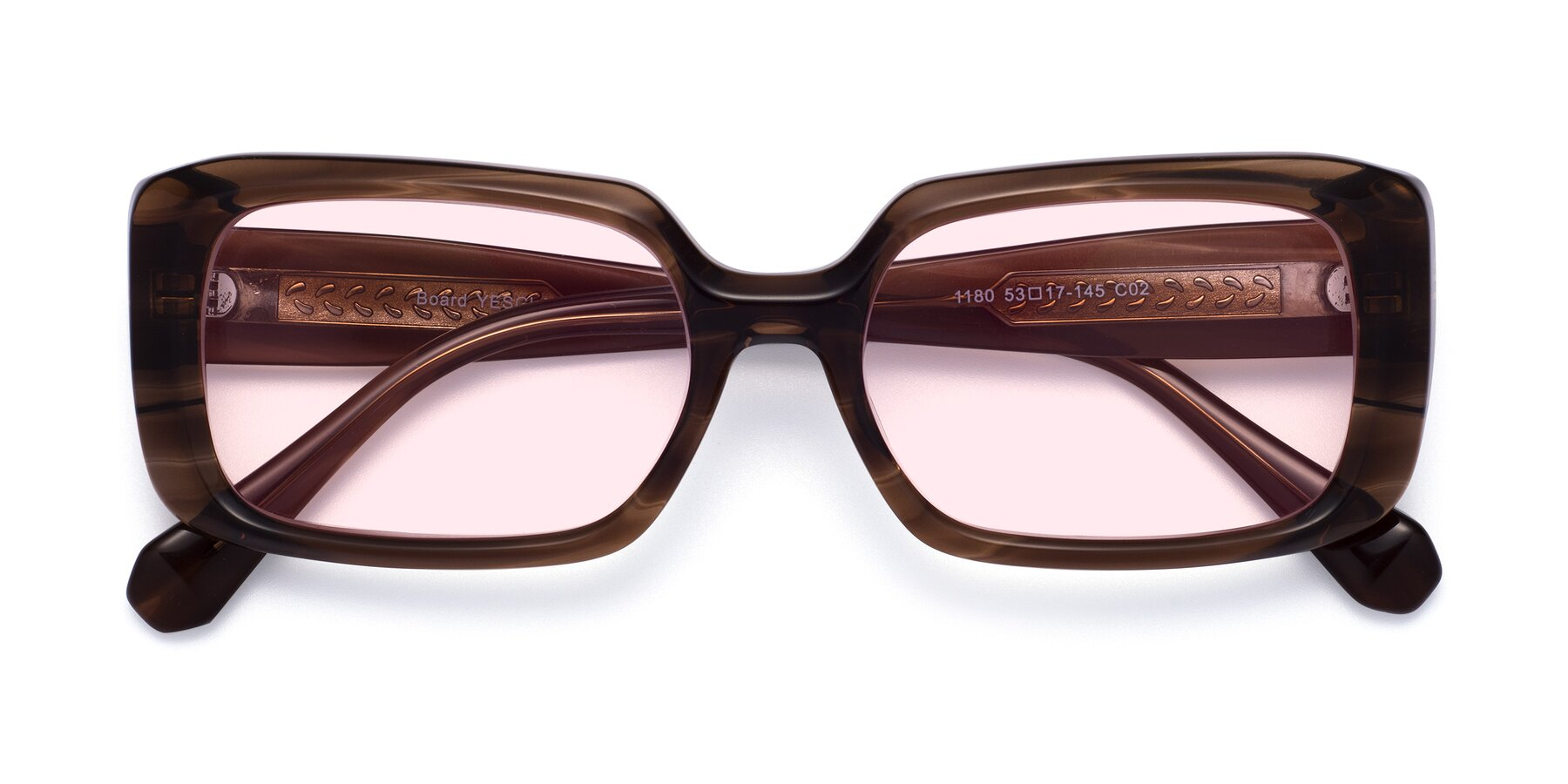 Folded Front of Board in Coffee with Light Pink Tinted Lenses