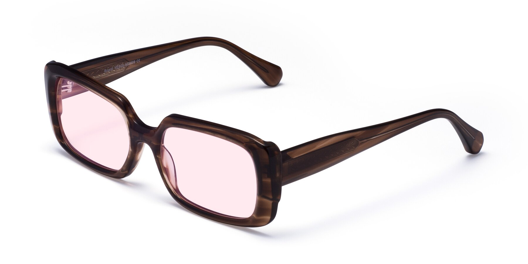 Angle of Board in Coffee with Light Pink Tinted Lenses