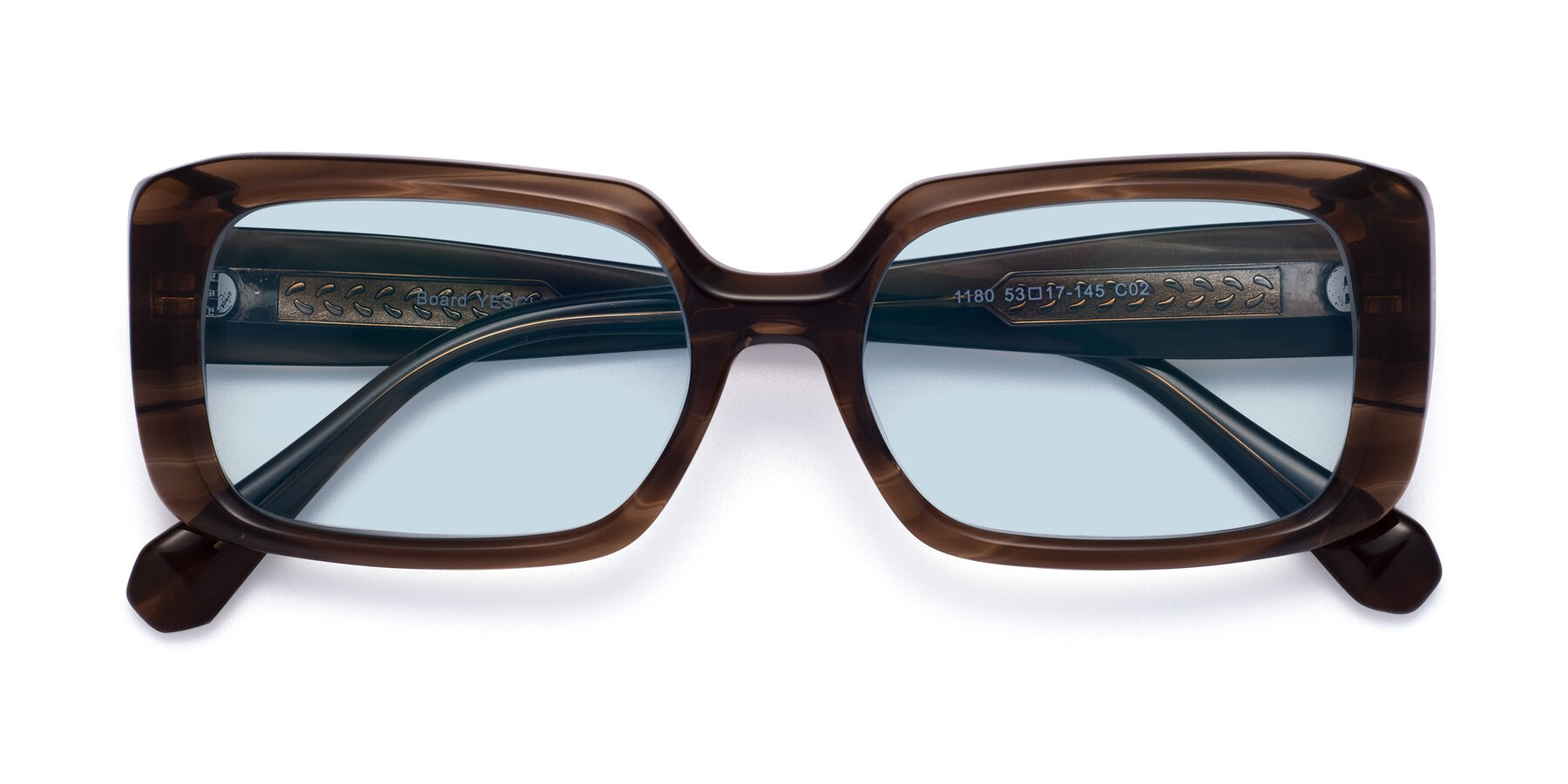 Folded Front of Board in Coffee with Light Blue Tinted Lenses