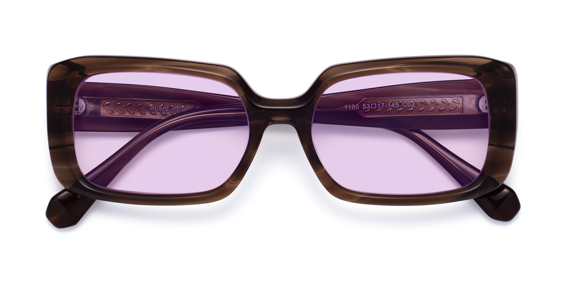Folded Front of Board in Coffee with Light Purple Tinted Lenses