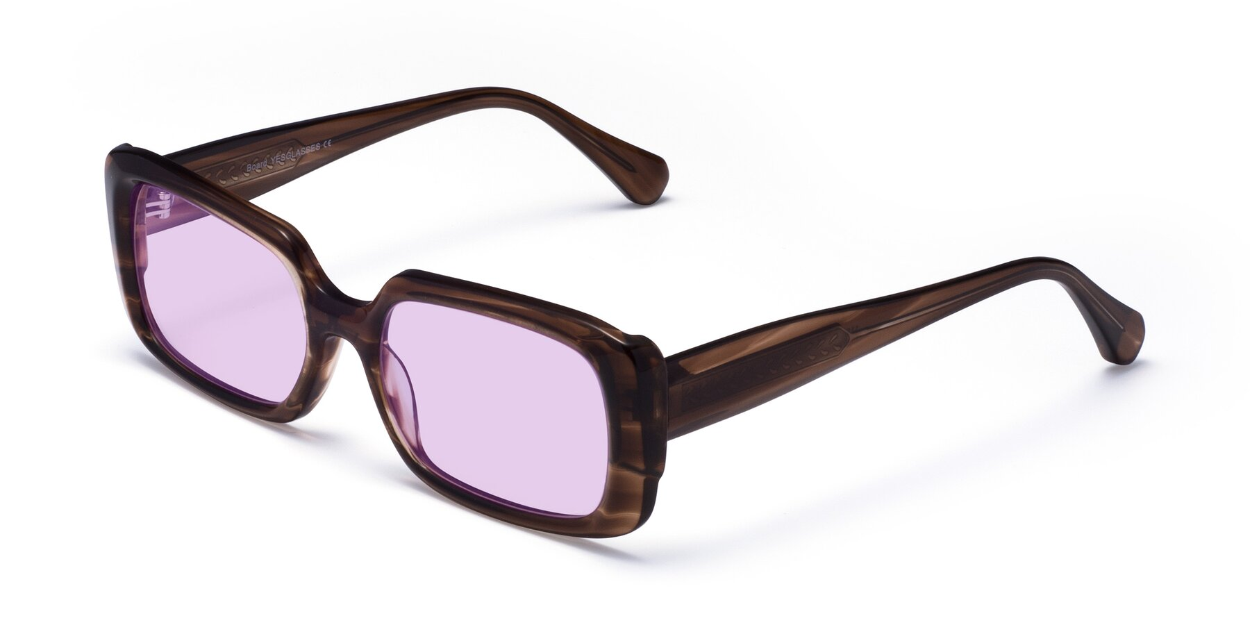 Angle of Board in Coffee with Light Purple Tinted Lenses