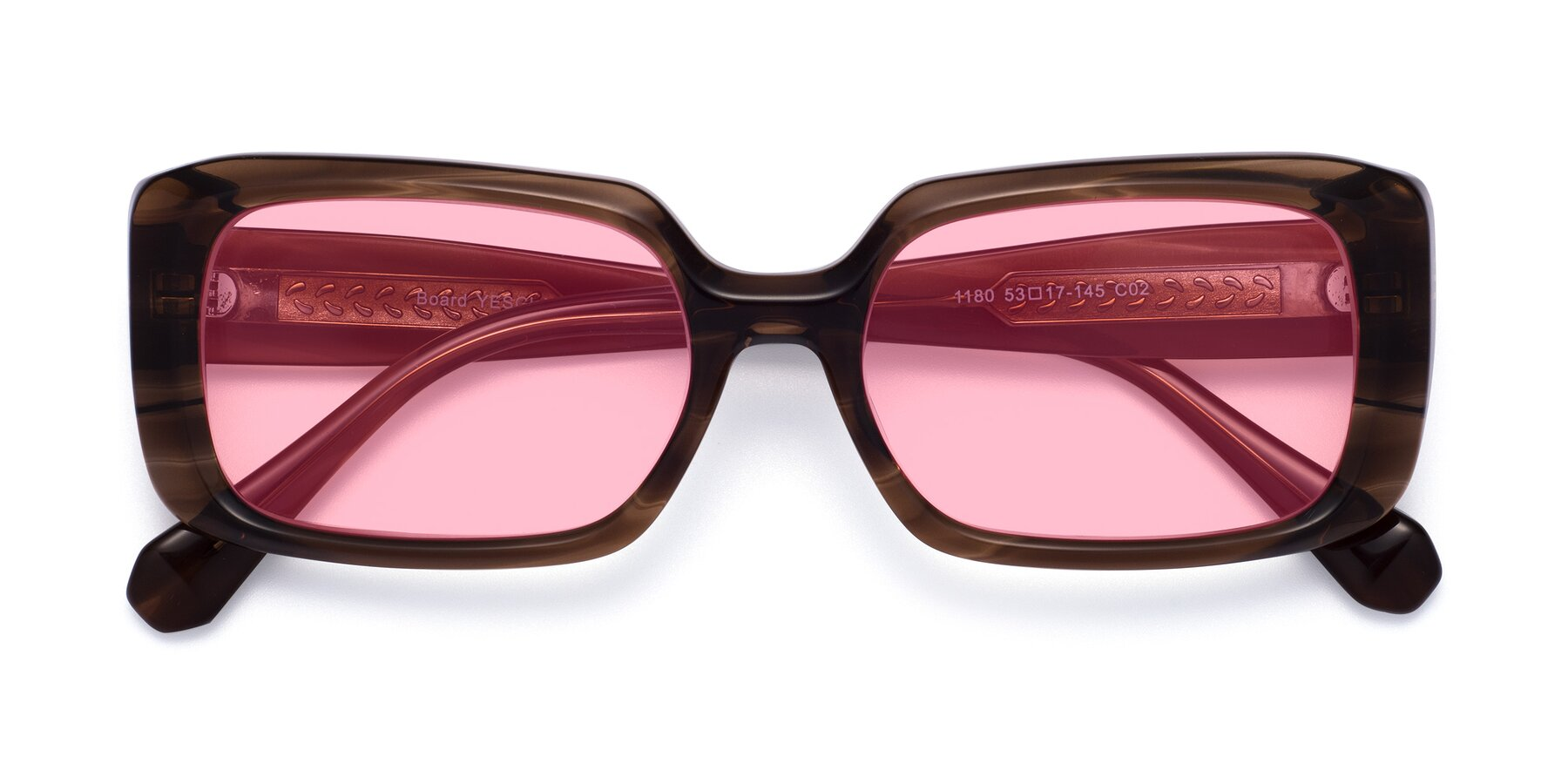 Folded Front of Board in Coffee with Medium Pink Tinted Lenses