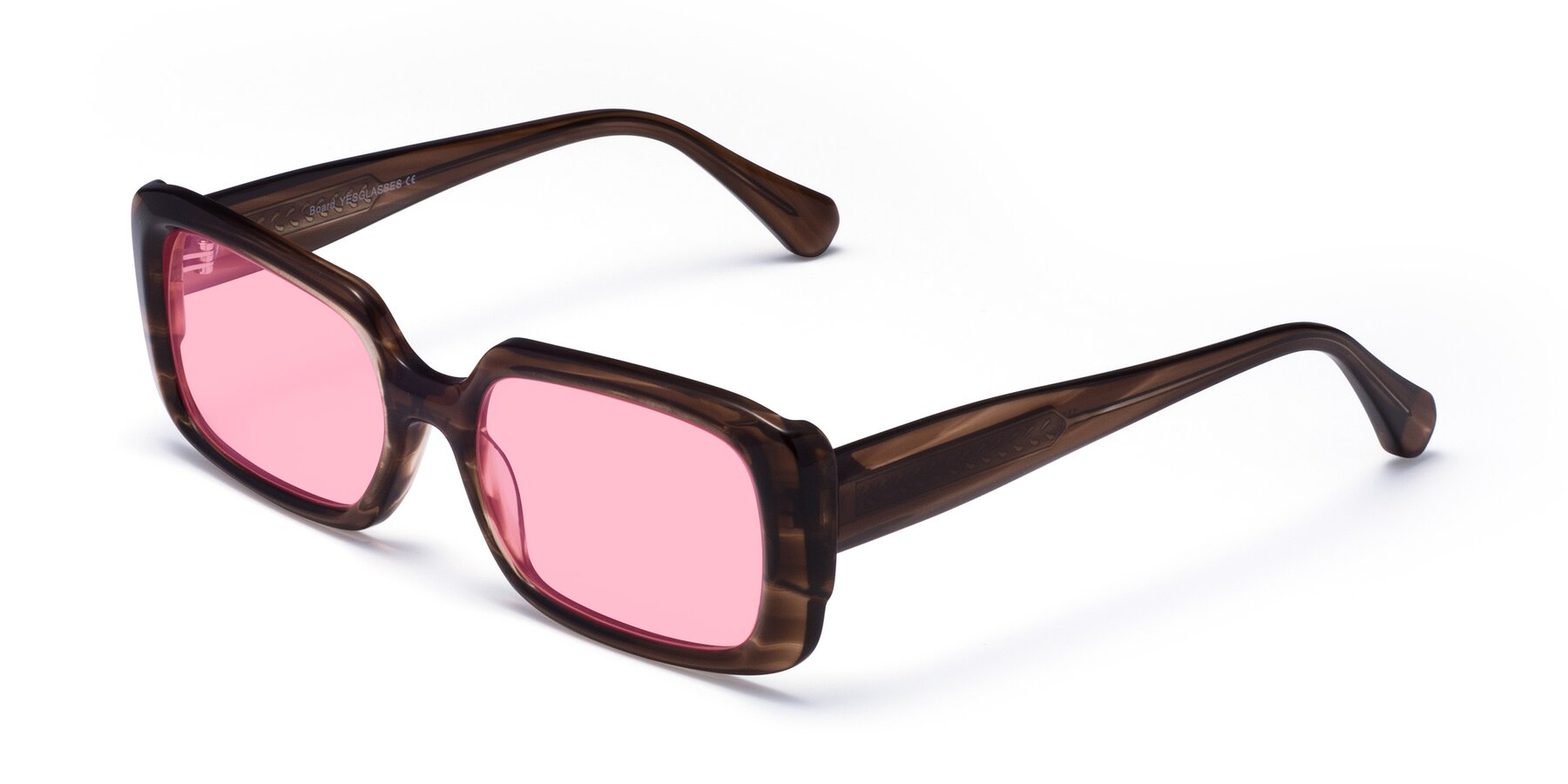 Angle of Board in Coffee with Medium Pink Tinted Lenses