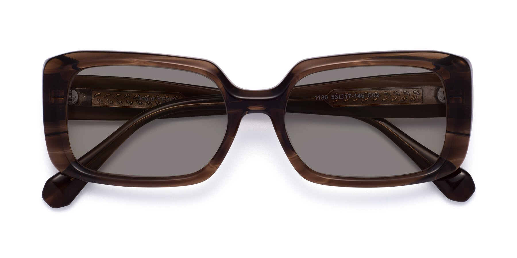 Folded Front of Board in Coffee with Medium Gray Tinted Lenses